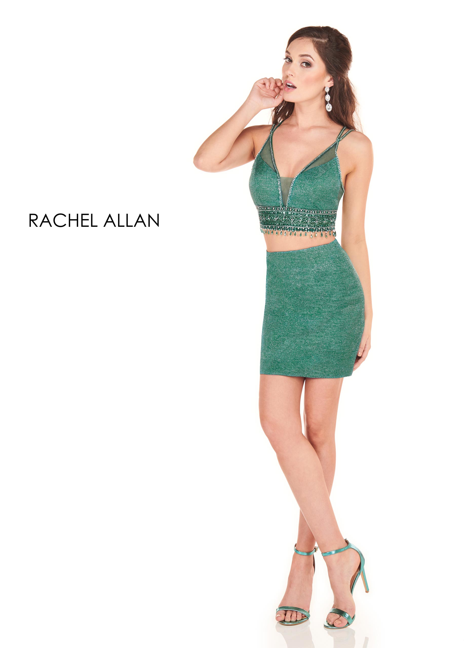 V-Neck Two-Piece Homecoming Dresses in Emerald Color