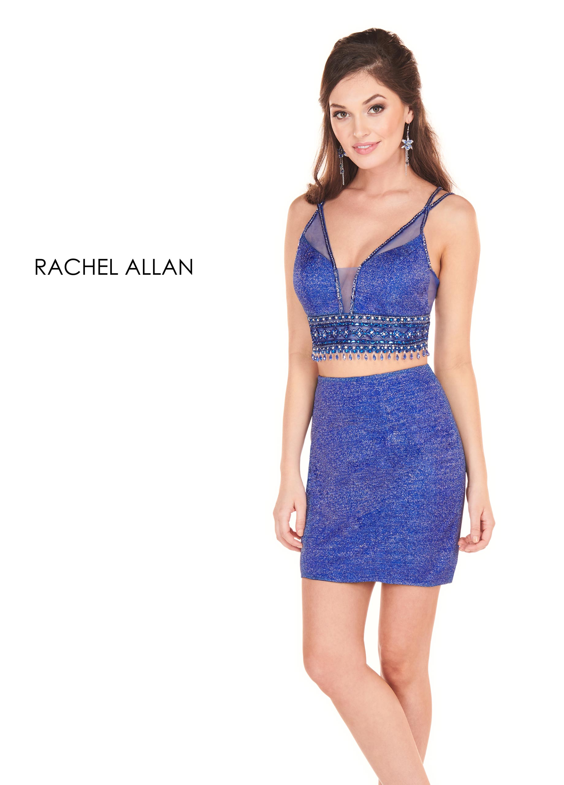 V-Neck Two-Piece Homecoming Dresses in Royal Color