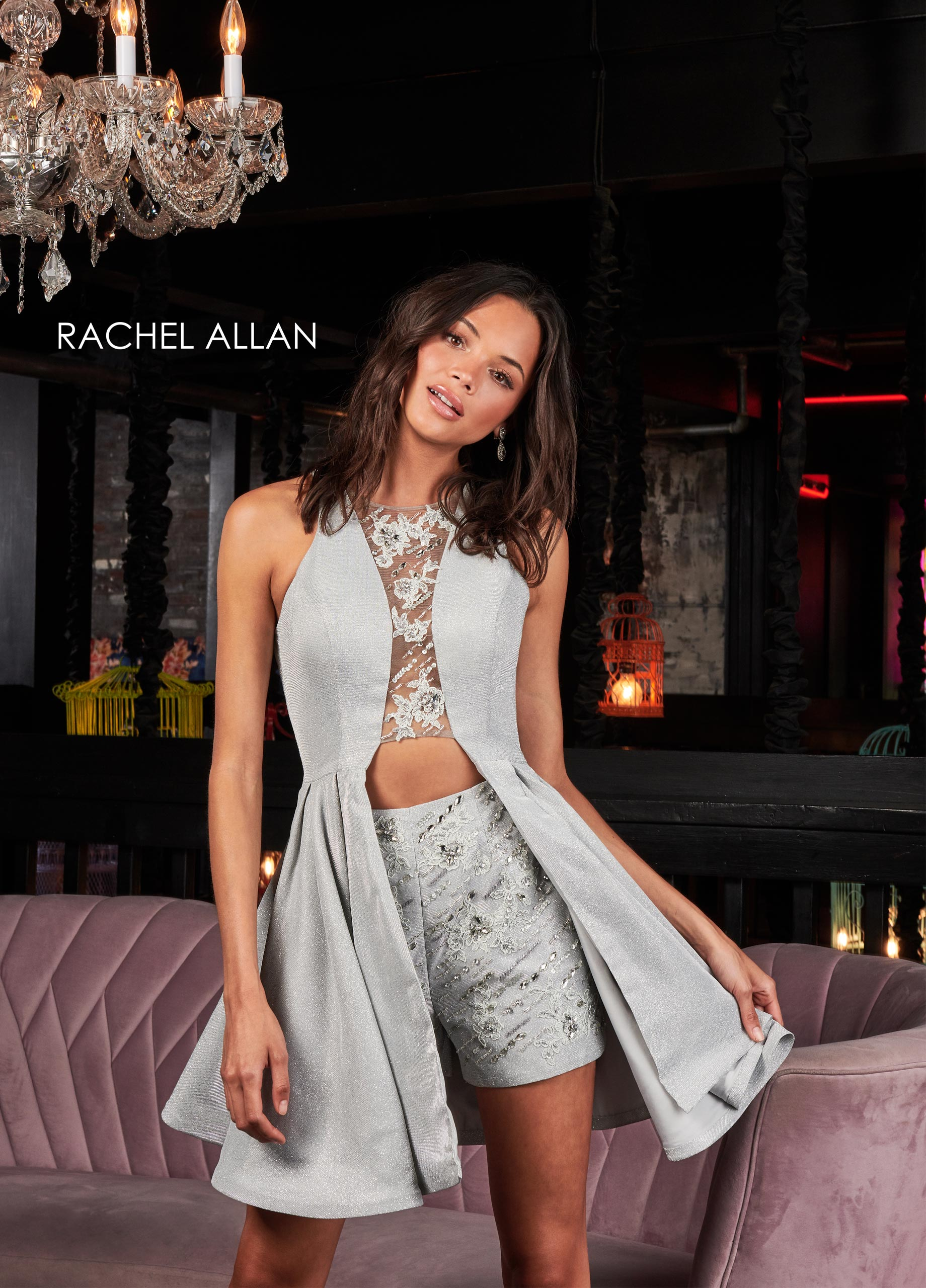 Scoop Neck Shorts With Overlay Homecoming Dresses in Silver/gunmetal Color