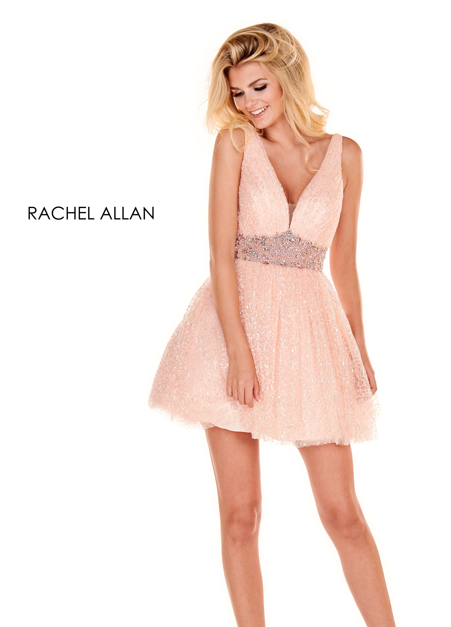 V-Neck A-Line Homecoming Dresses in Blush Color