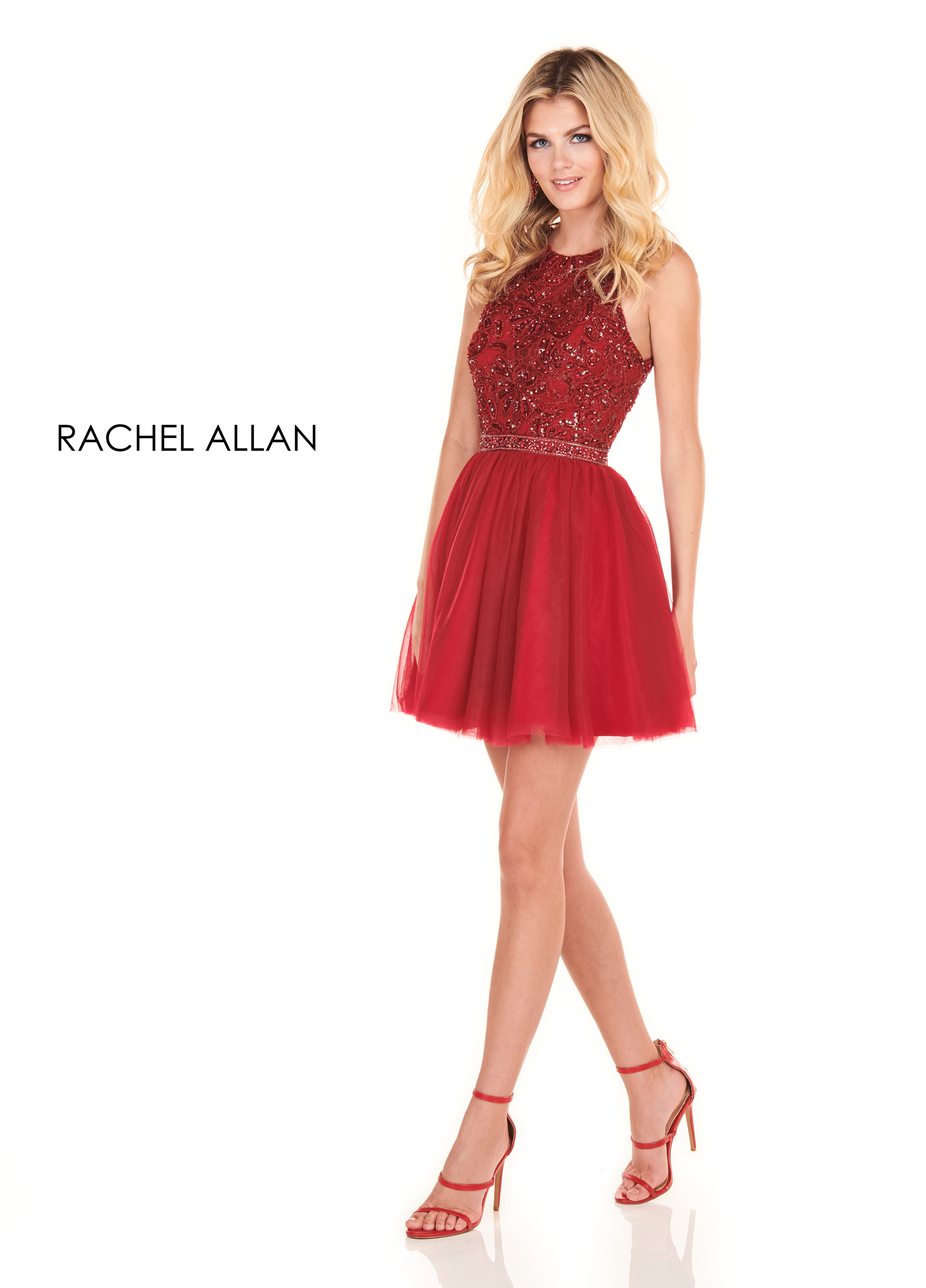 Halter A-Line Homecoming Dresses in Red Color
