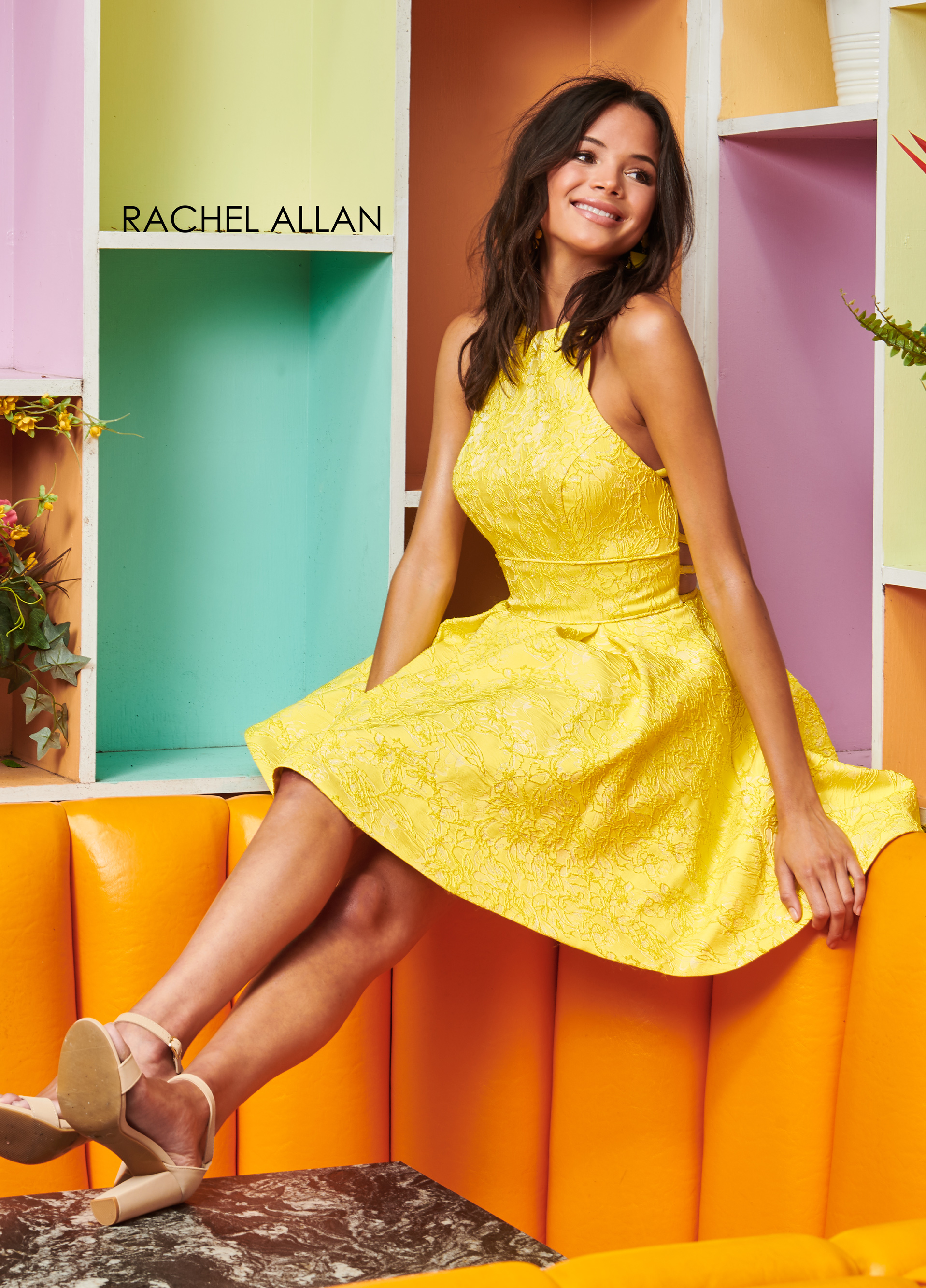 Halter A-Line Homecoming Dresses in Yellow Color