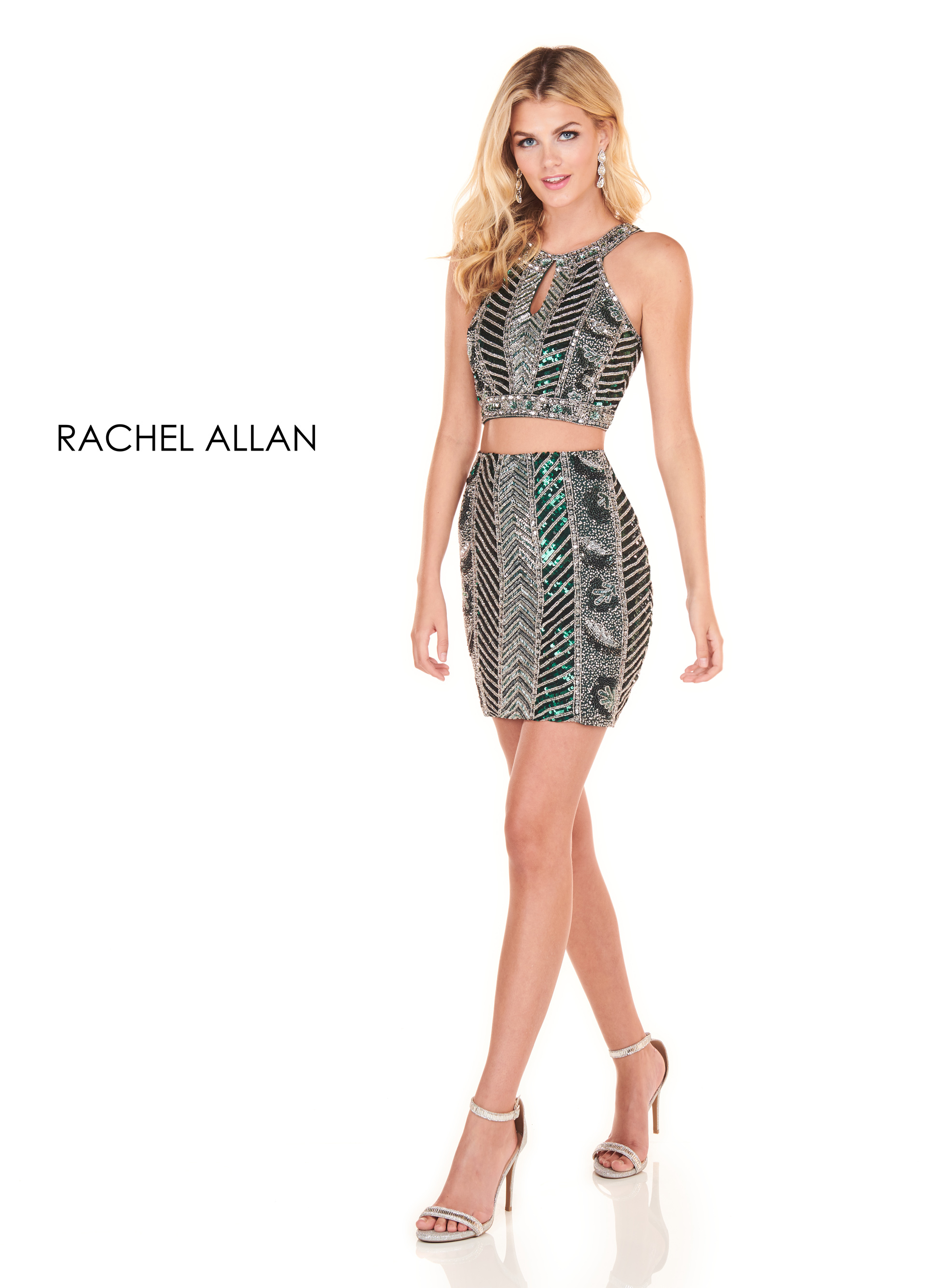 Halter Two-Piece Homecoming Dresses in Green Color