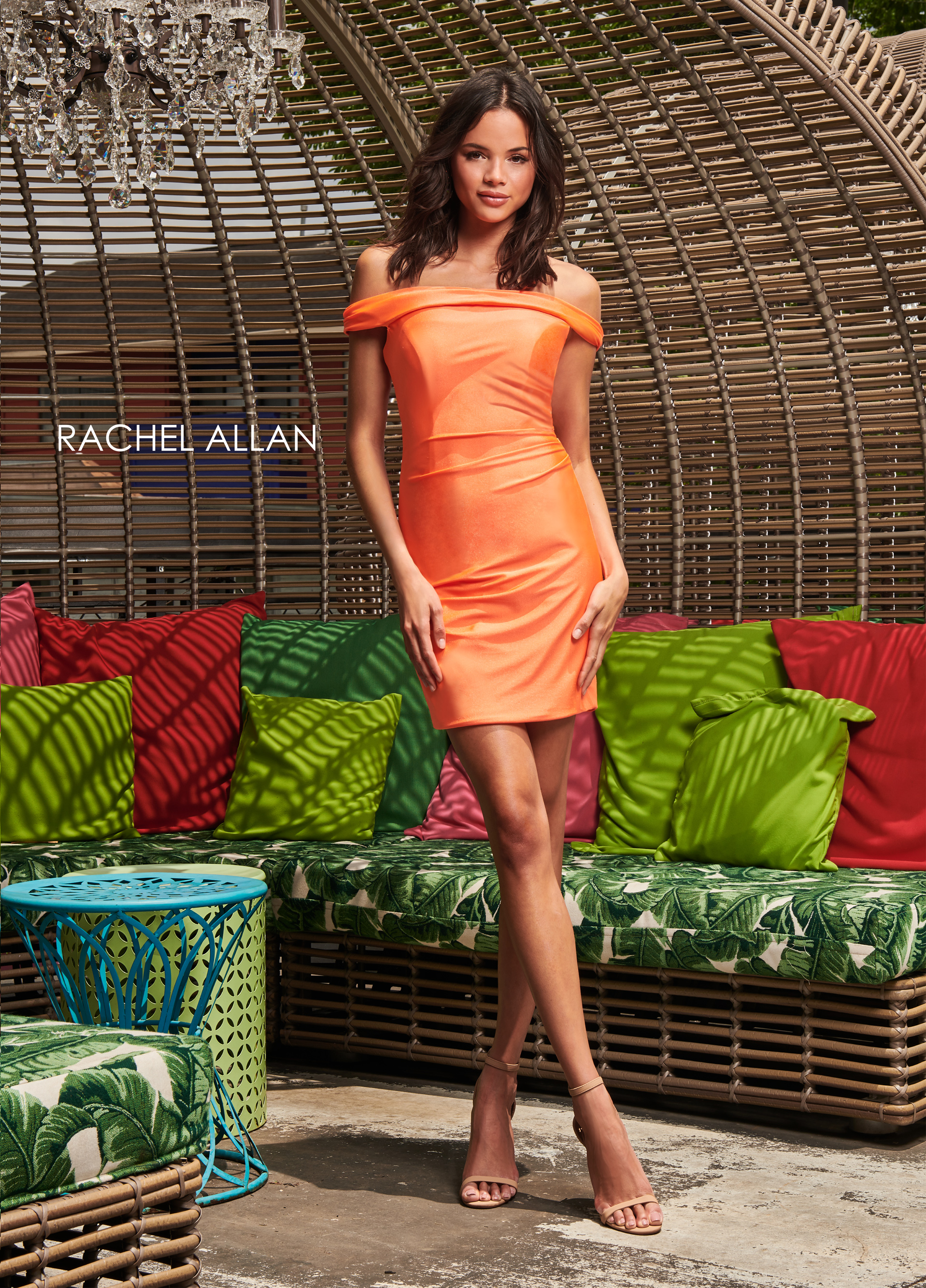 Off The Shoulder Fitted Mini Homecoming Dresses in Coral Color