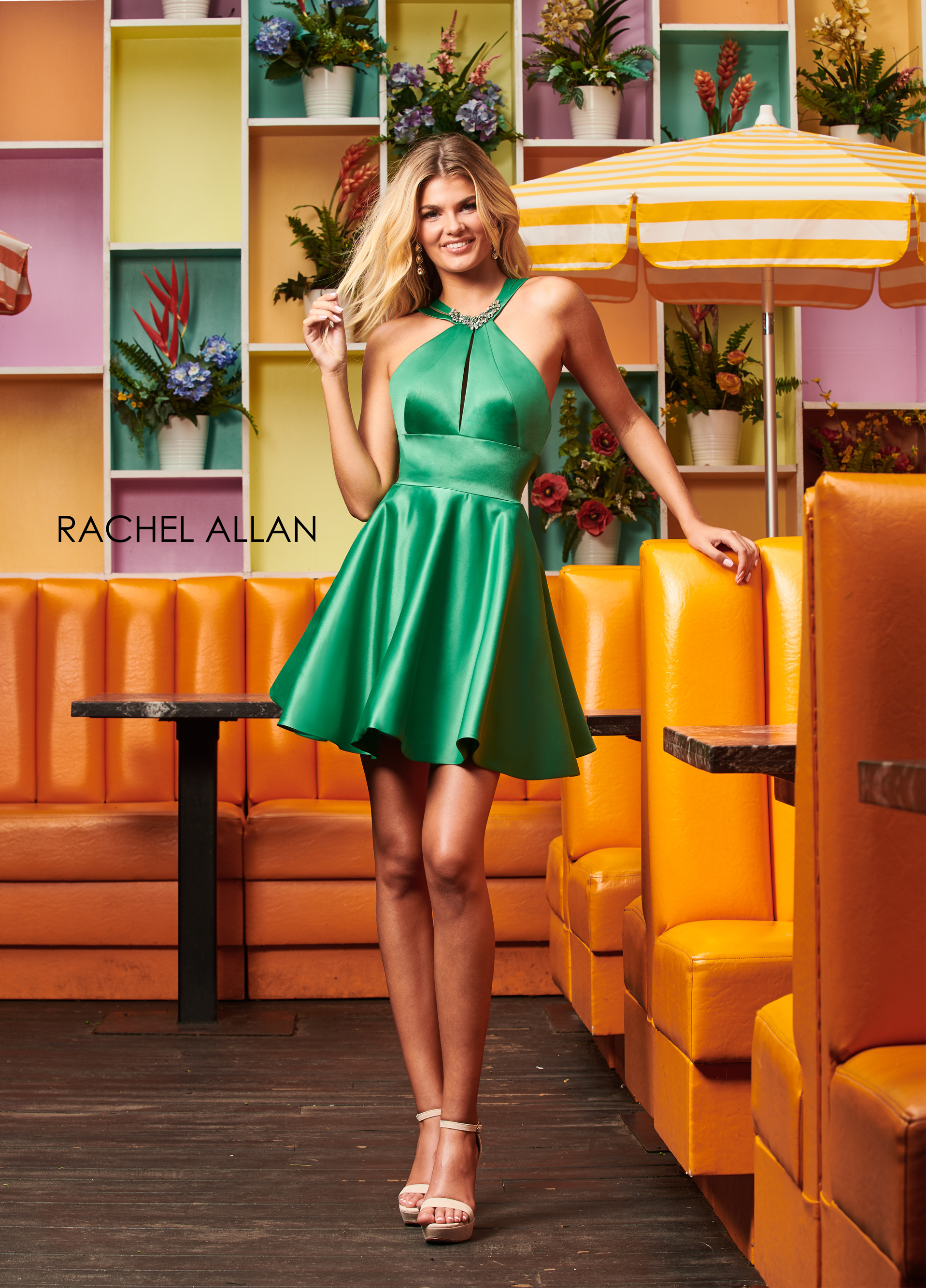 Halter A-Line Homecoming Dresses in Emerald Color