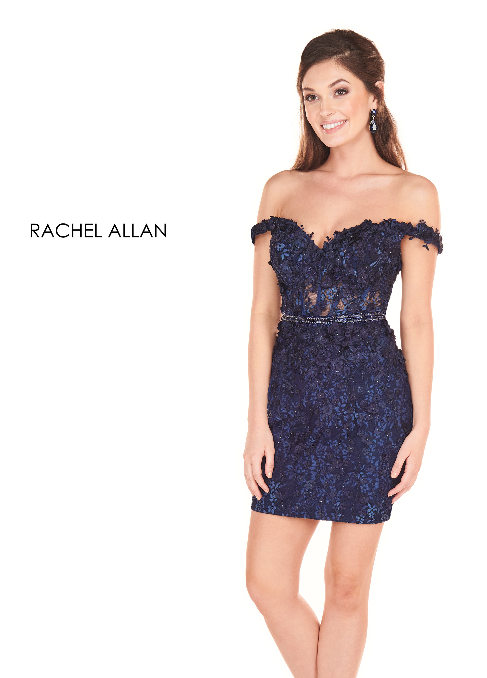 Off The Shoulder Fitted Mini Homecoming Dresses in Navy Color