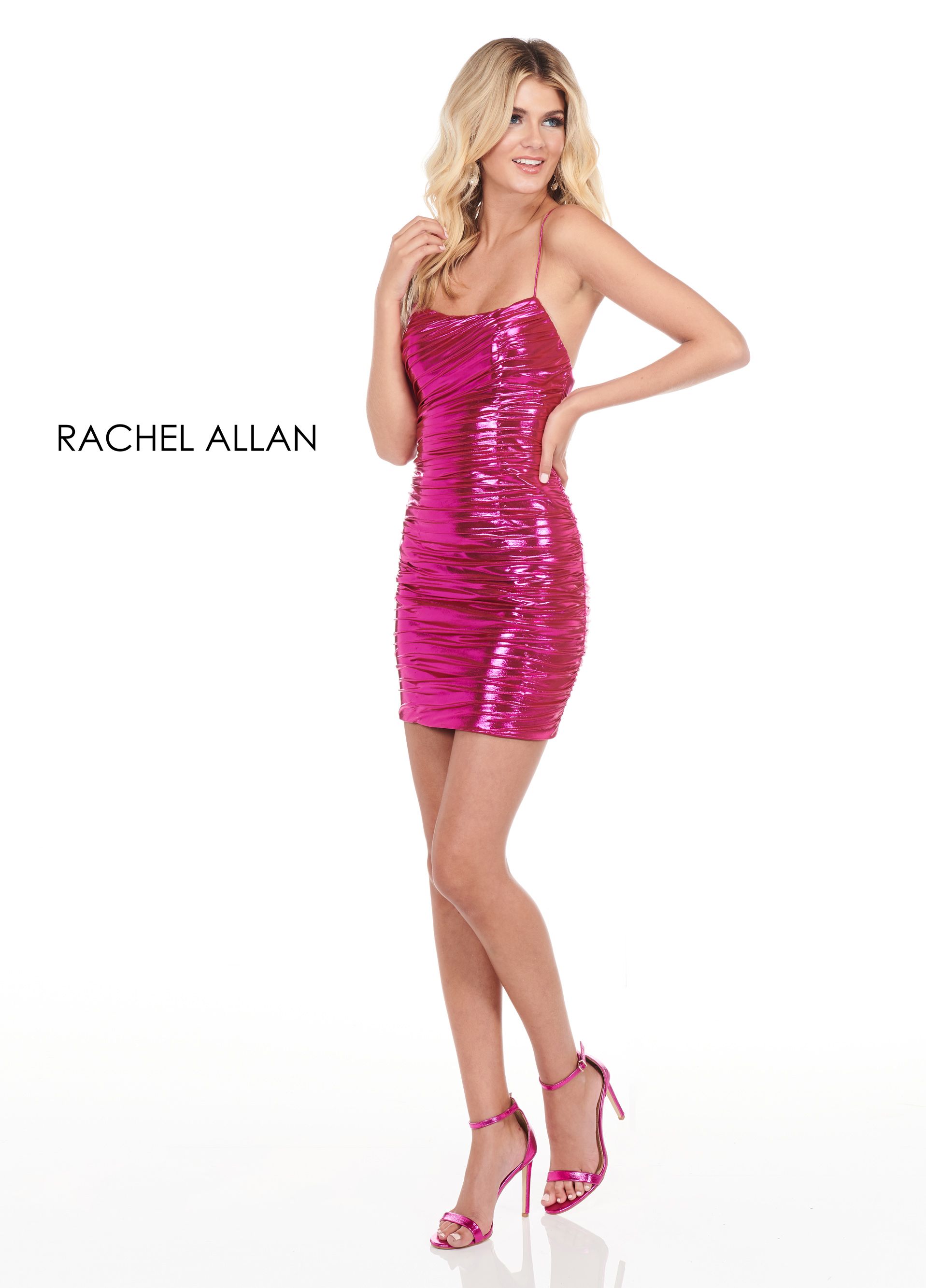 Scoop Neck Fitted Mini Homecoming Dresses in Fuchsia Color