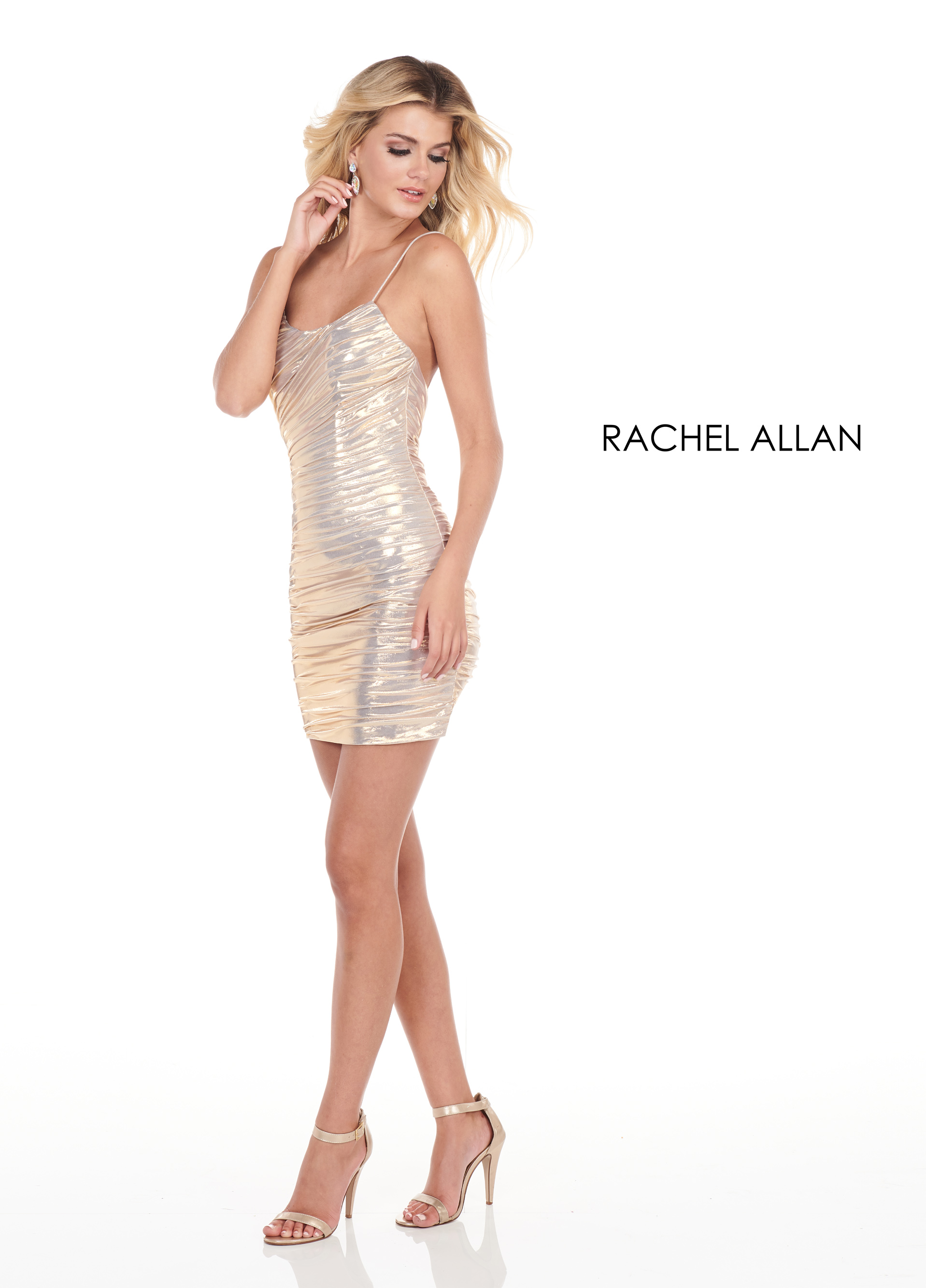 Scoop Neck Fitted Mini Homecoming Dresses in Gold Color