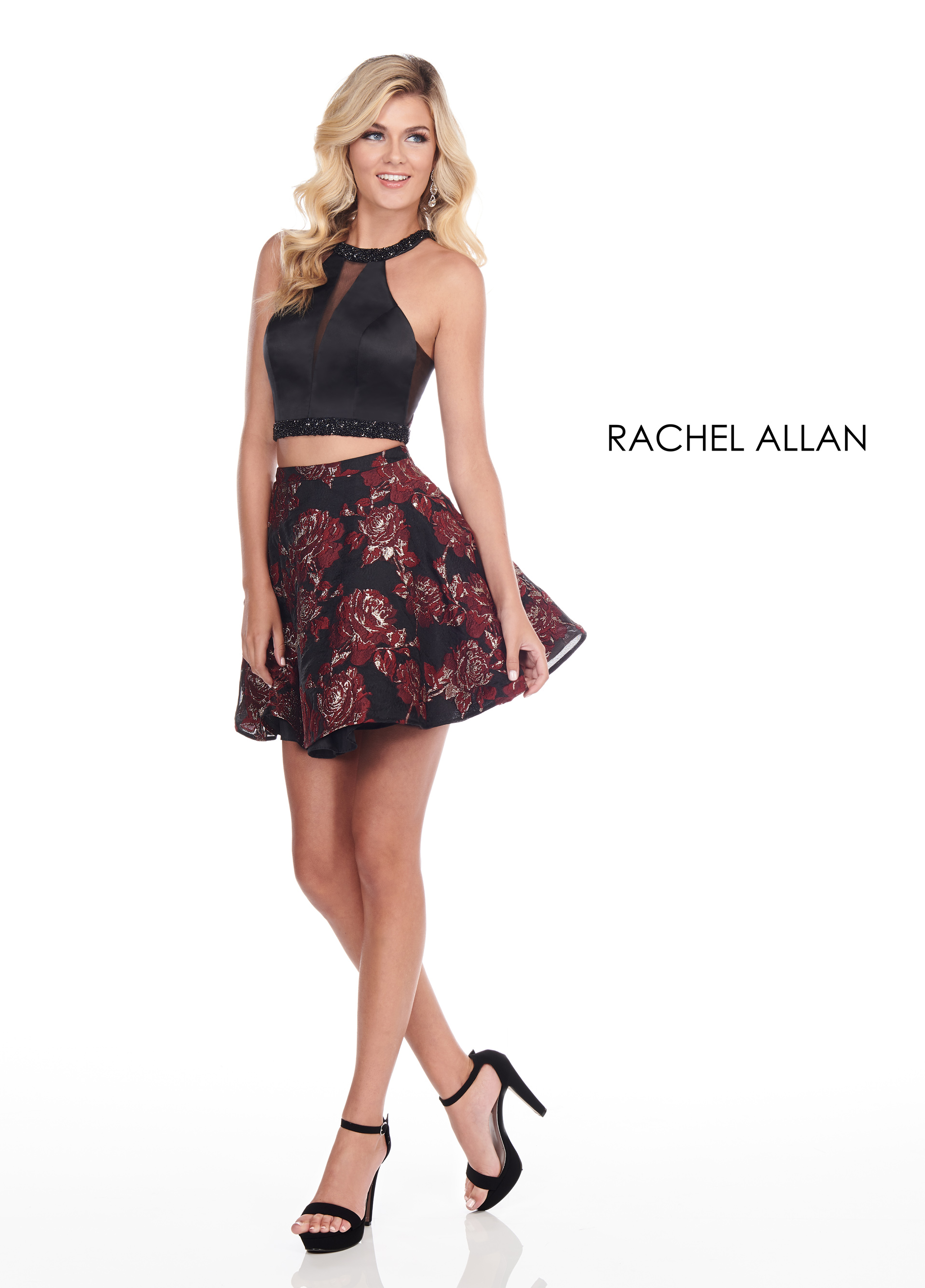 Halter Two-Piece Homecoming Dresses in Black Color