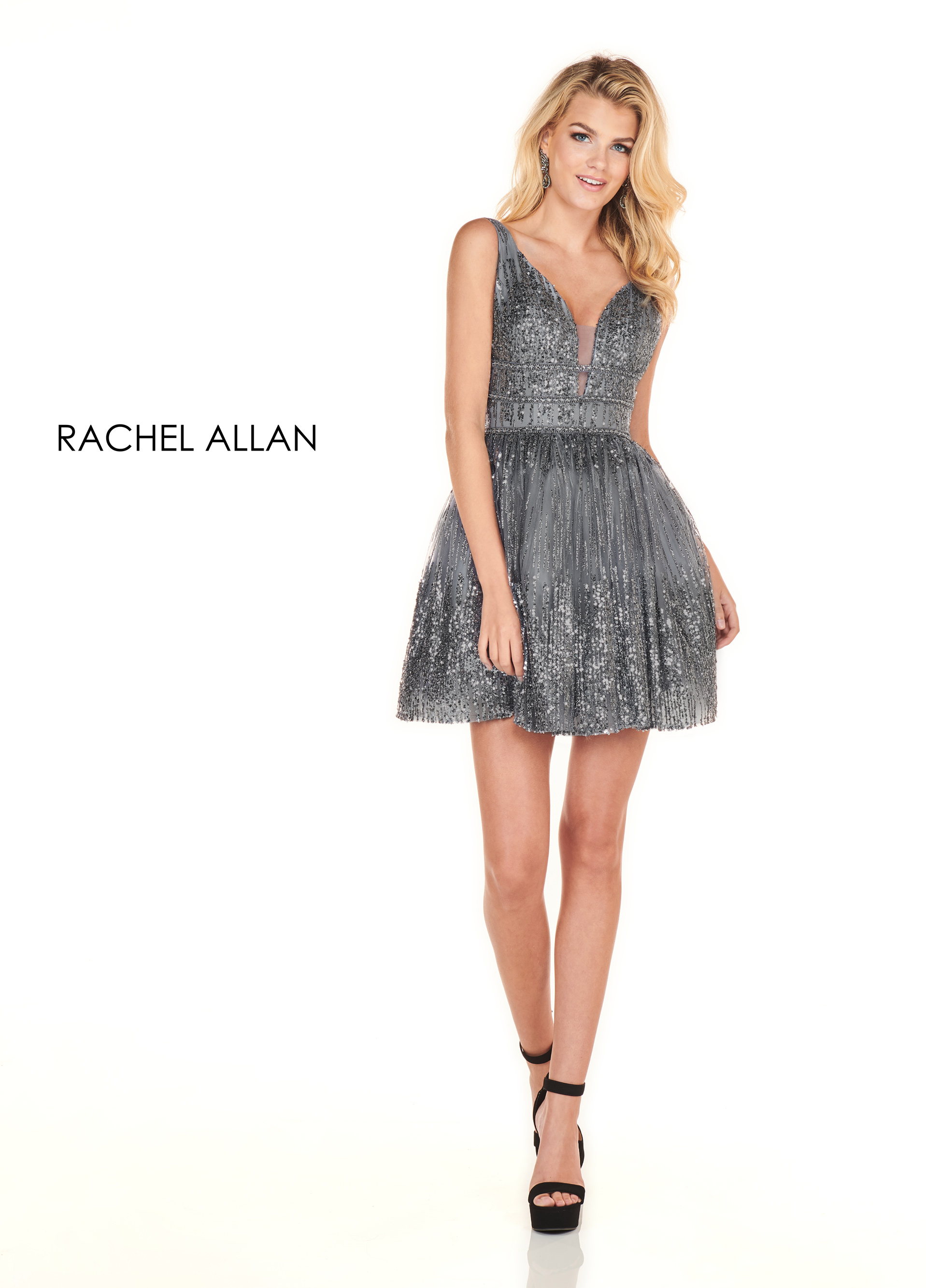 V-Neck A-Line Homecoming Dresses in Gunmetal Color