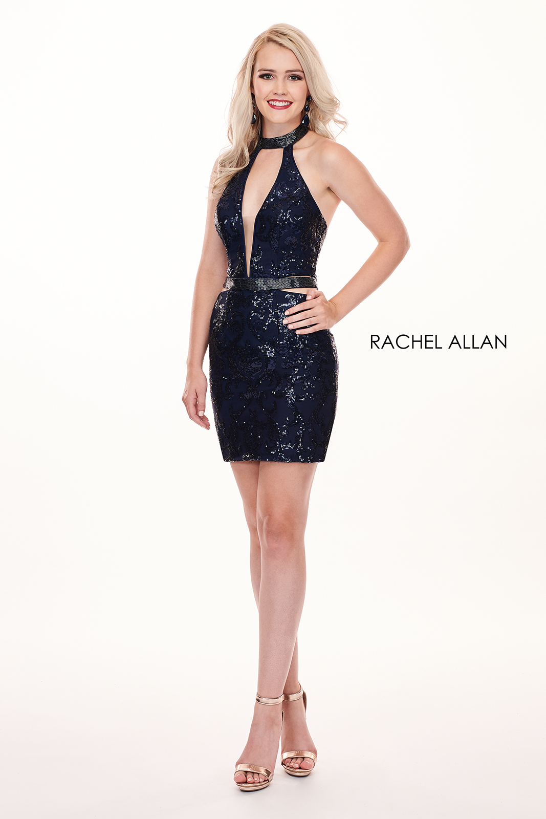 Choker Fitted Mini Homecoming Dresses in Navy Color
