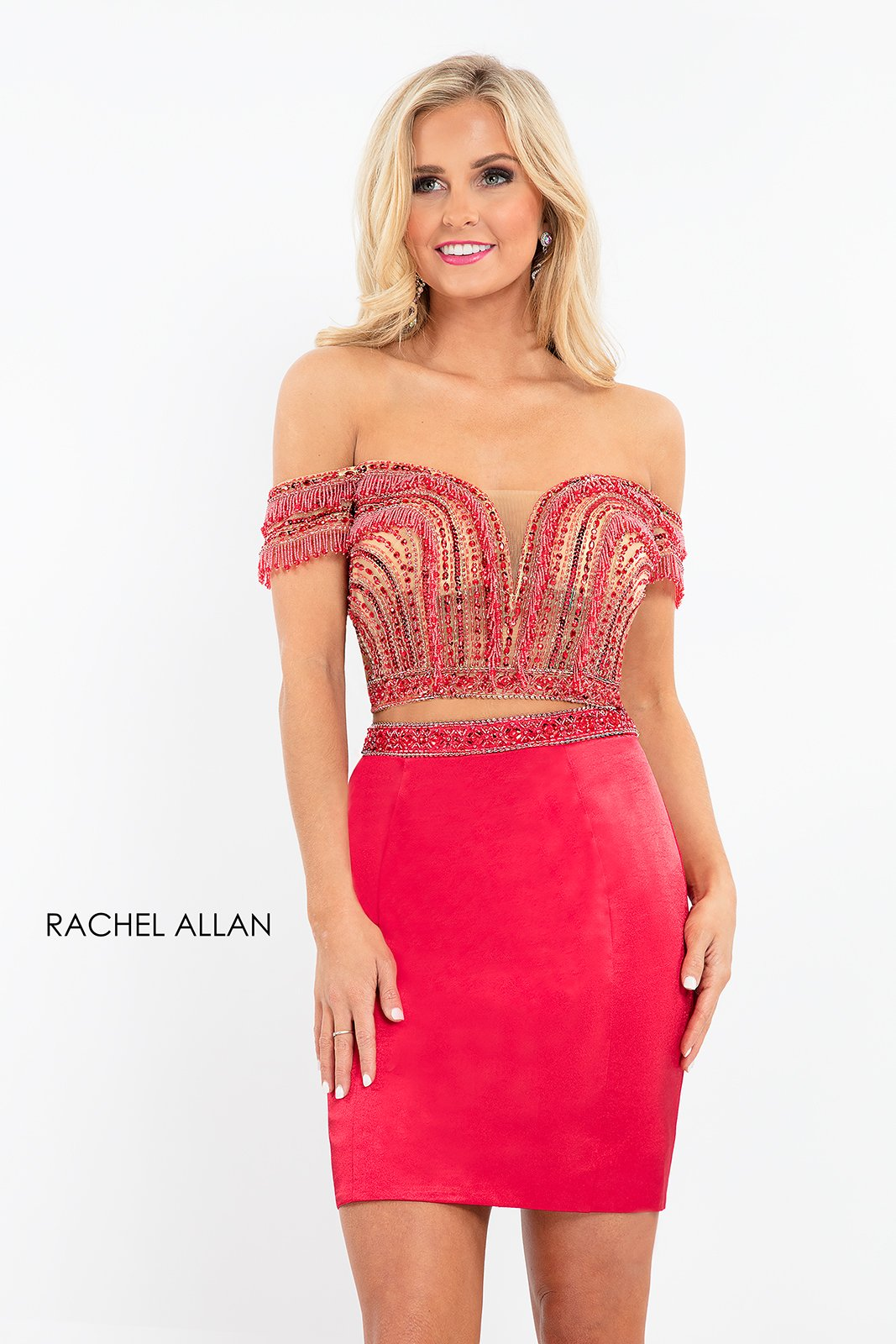 Off The Shoulder Two-Piece Homecoming Dresses in Red Color