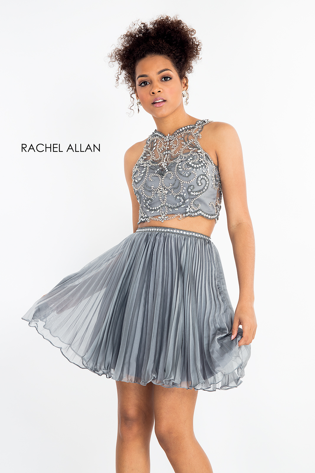 High Neckline Two-Piece Homecoming Dresses in Silver/gunmetal Color