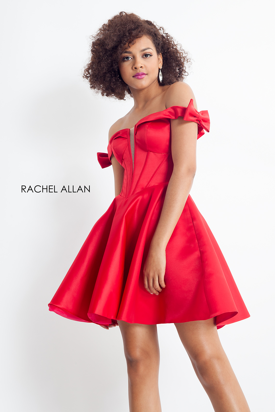 Off The Shoulder Fit & Flare Homecoming Dresses in Red Color