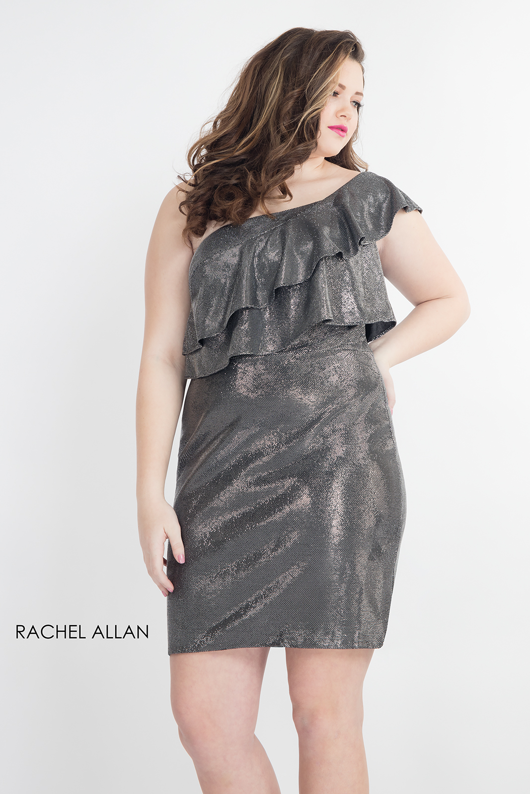 One Shoulder Fitted Mini Homecoming Curves in Grey Color