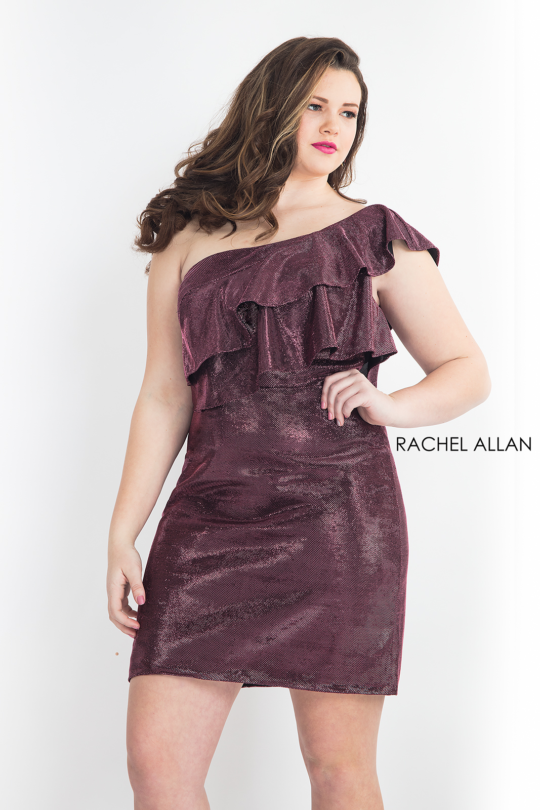 One Shoulder Fitted Mini Homecoming Curves in Fuchsia Color