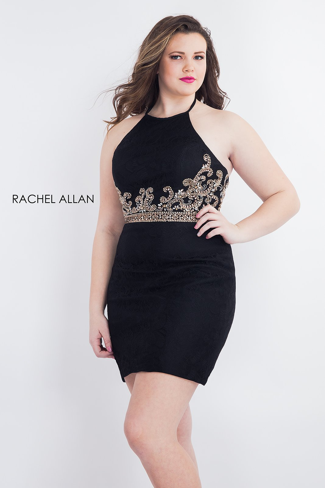 Halter Fitted Mini Homecoming Curves in Black Color