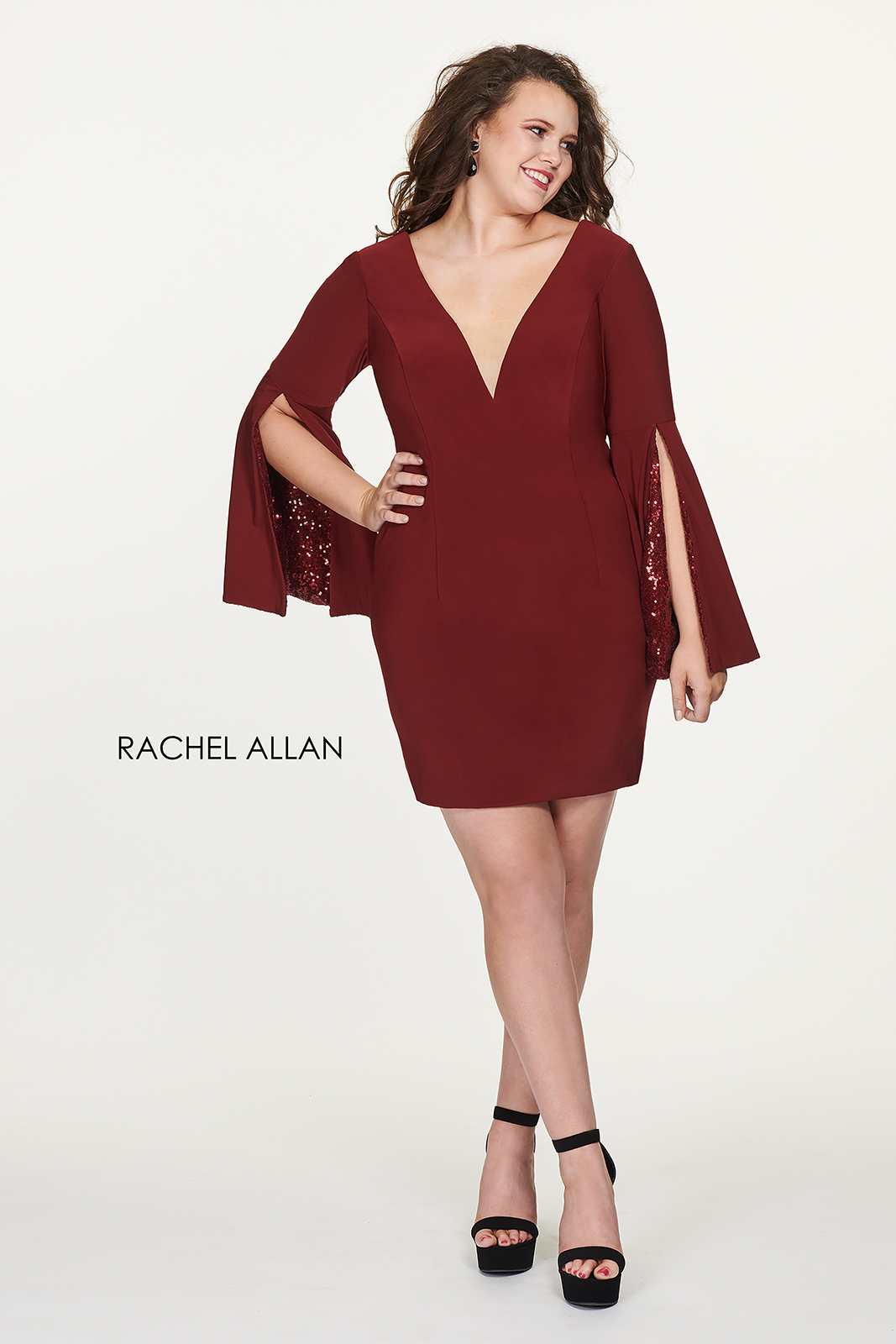 V-Neck Fitted Mini Homecoming Curves in Red Color