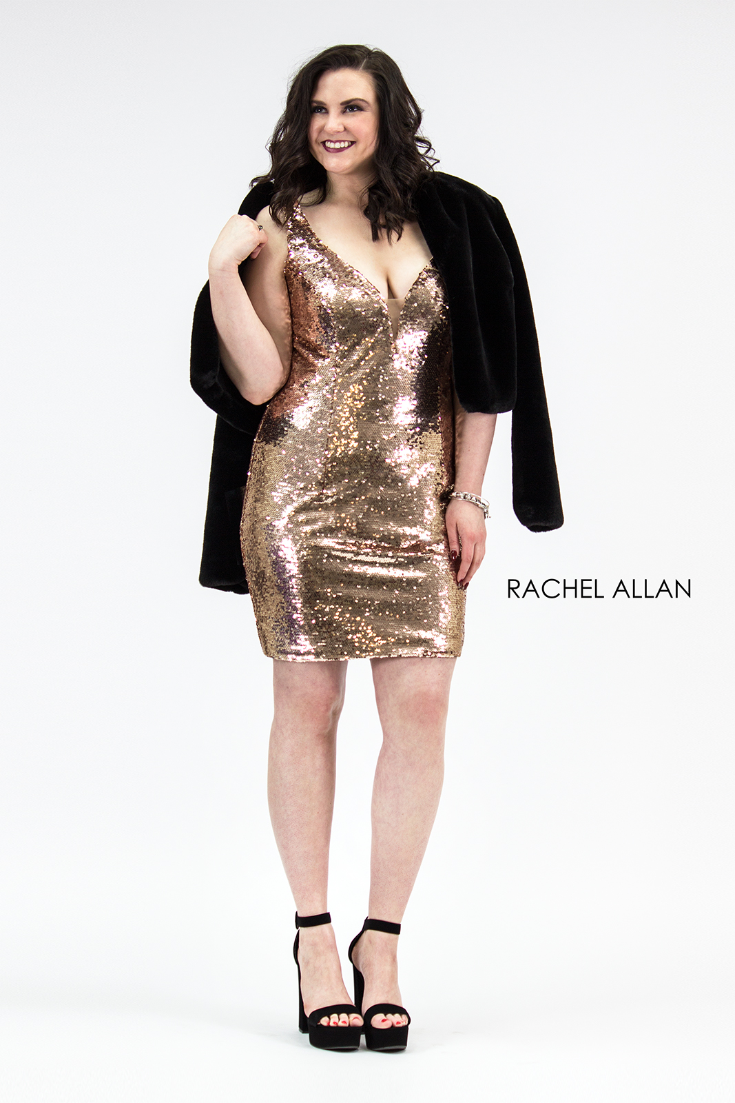 V-Neck Fitted Mini Homecoming Curves in Gold Color