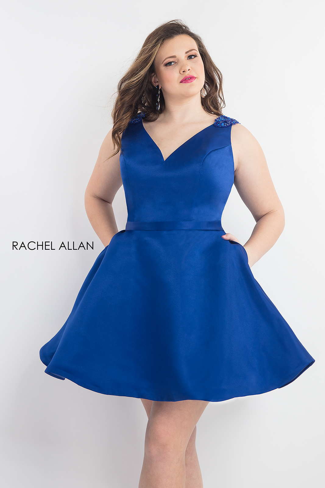 V-Neck Fit & Flare Homecoming Plus Size Dresses in Royal ...