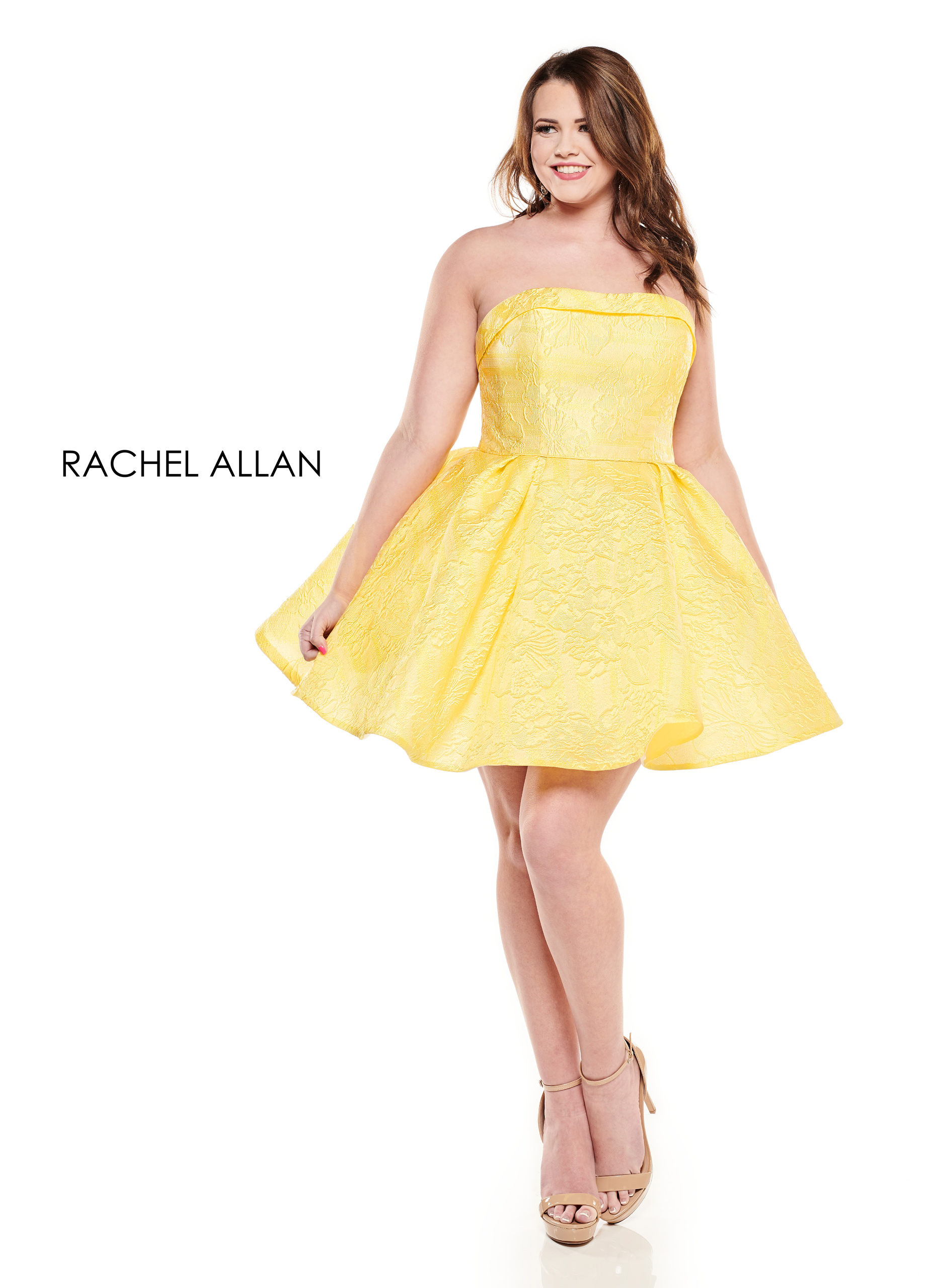 Strapless Full Skirt Mini Homecoming Curves in Yellow Color