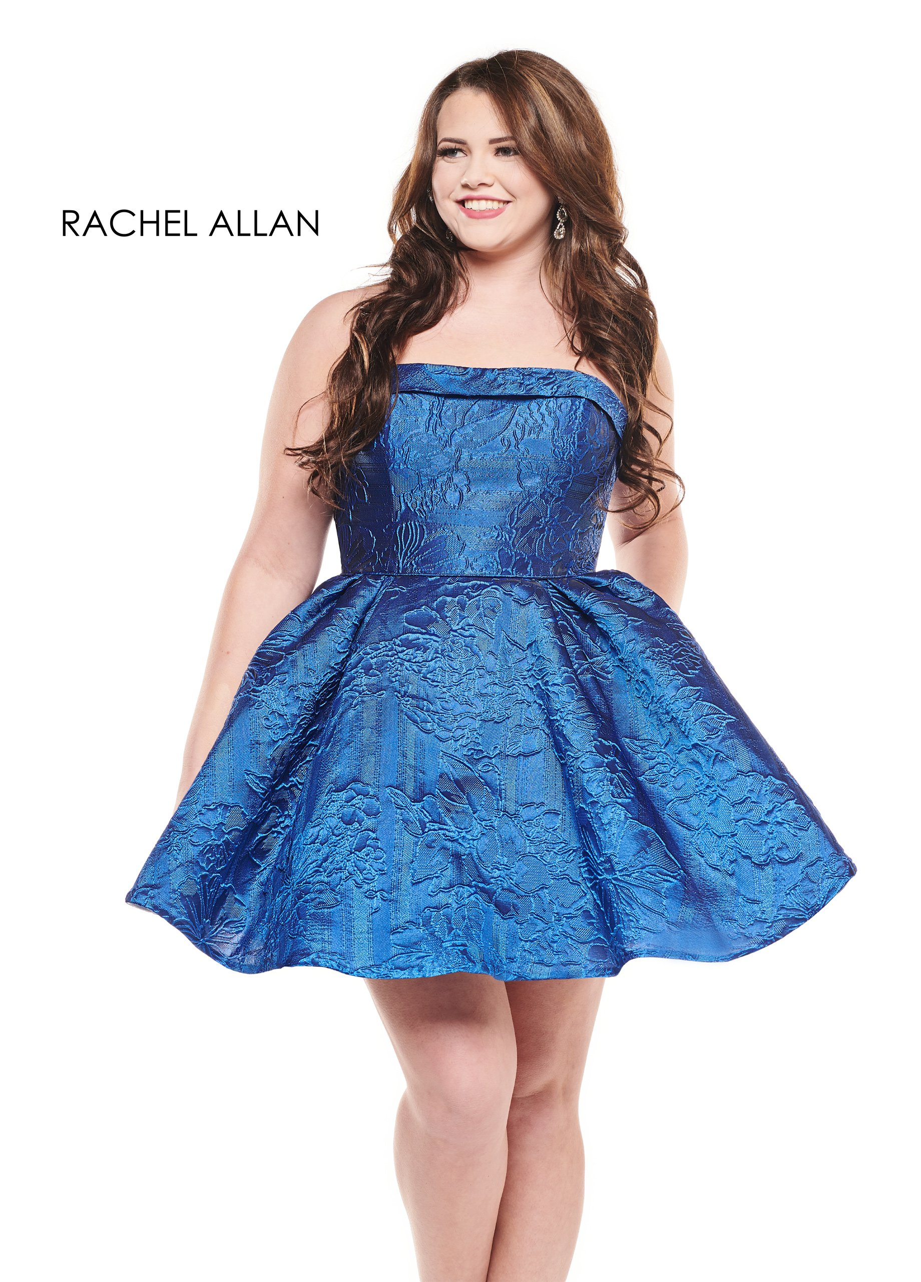 Strapless Full Skirt Mini Homecoming Curves in Royal Color
