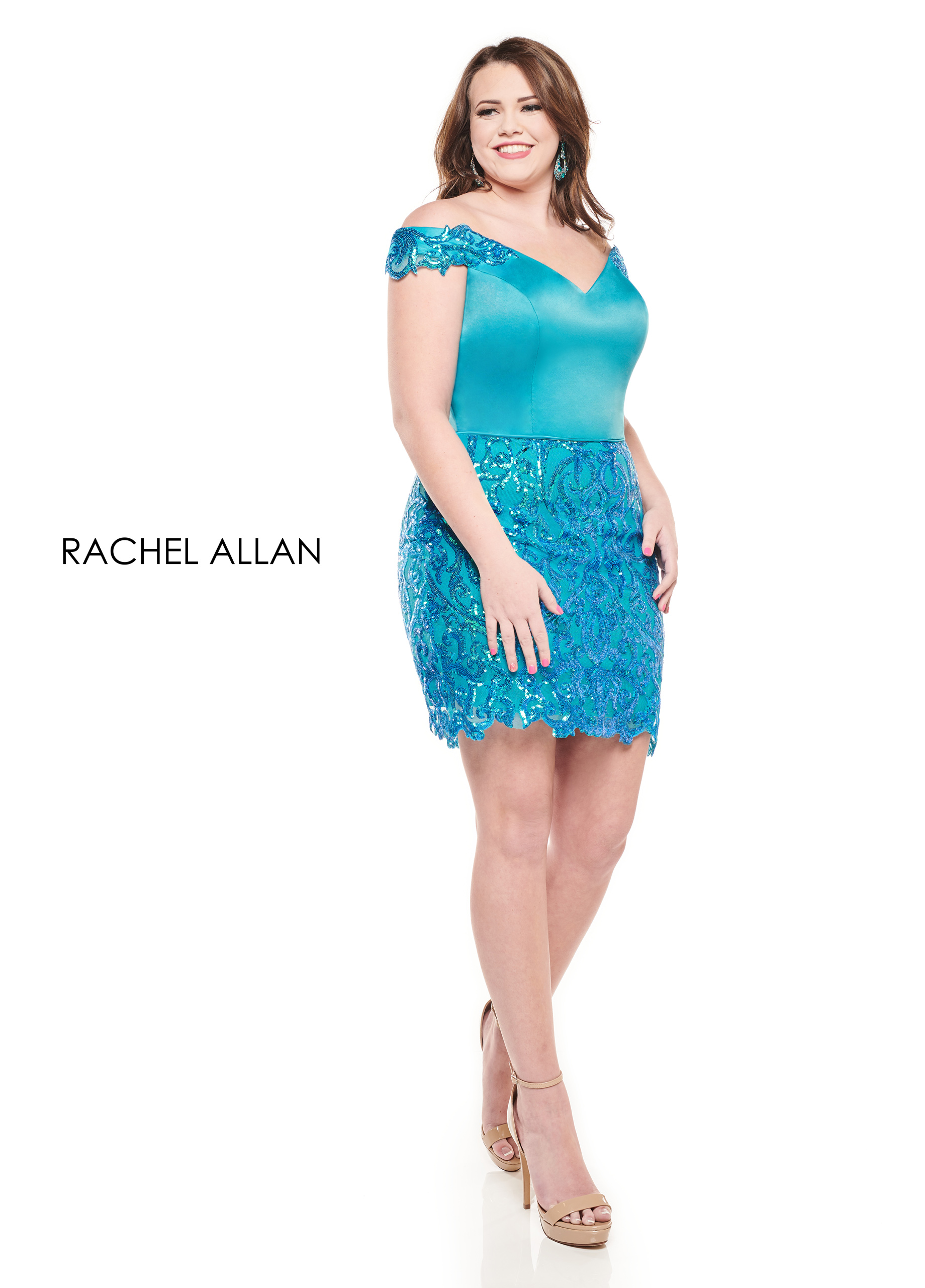 Off The Shoulder Fitted Mini Homecoming Curves in Turquoise Color
