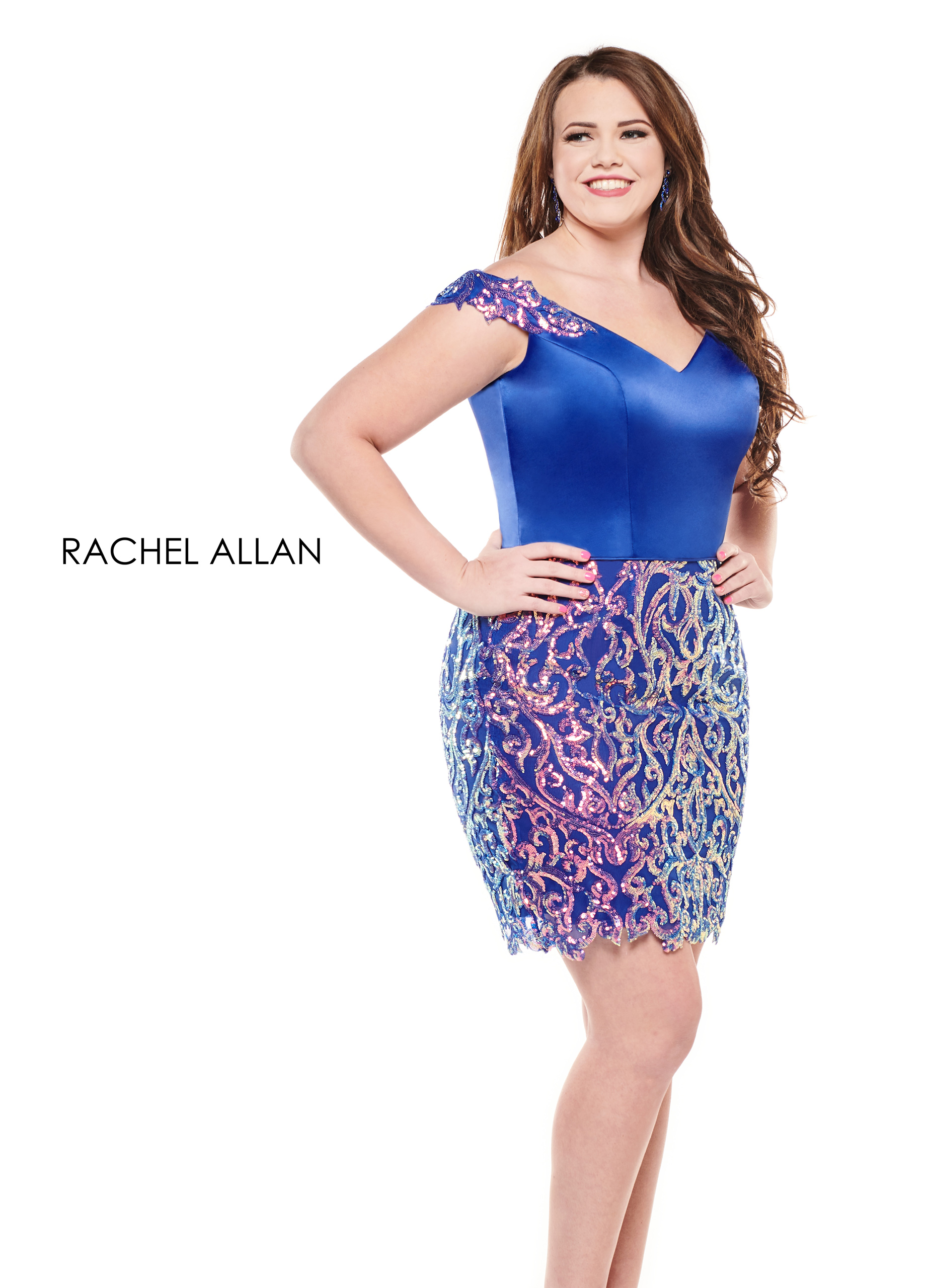 Off The Shoulder Fitted Mini Homecoming Curves in Royal Color