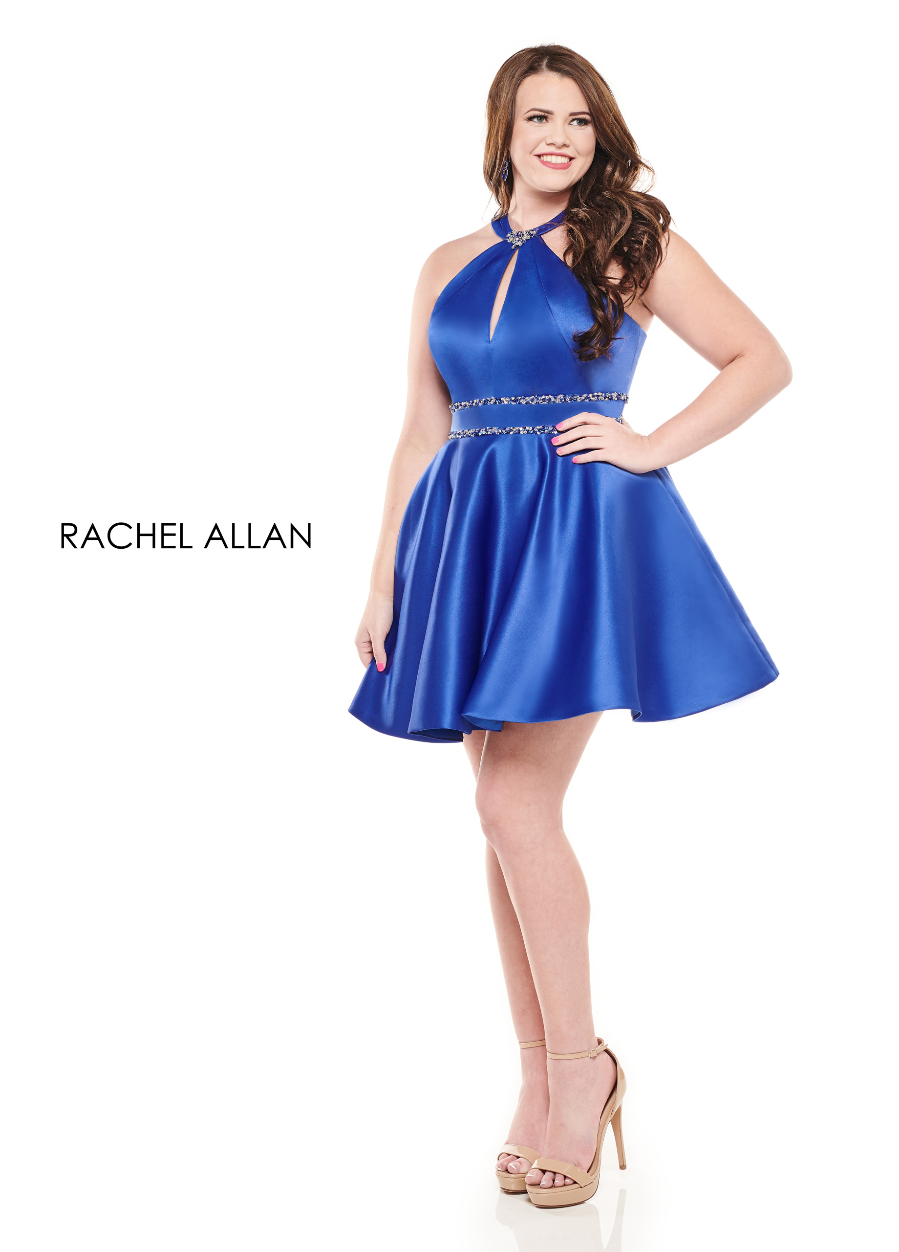 Halter Full Skirt Mini Homecoming Curves in Royal Color