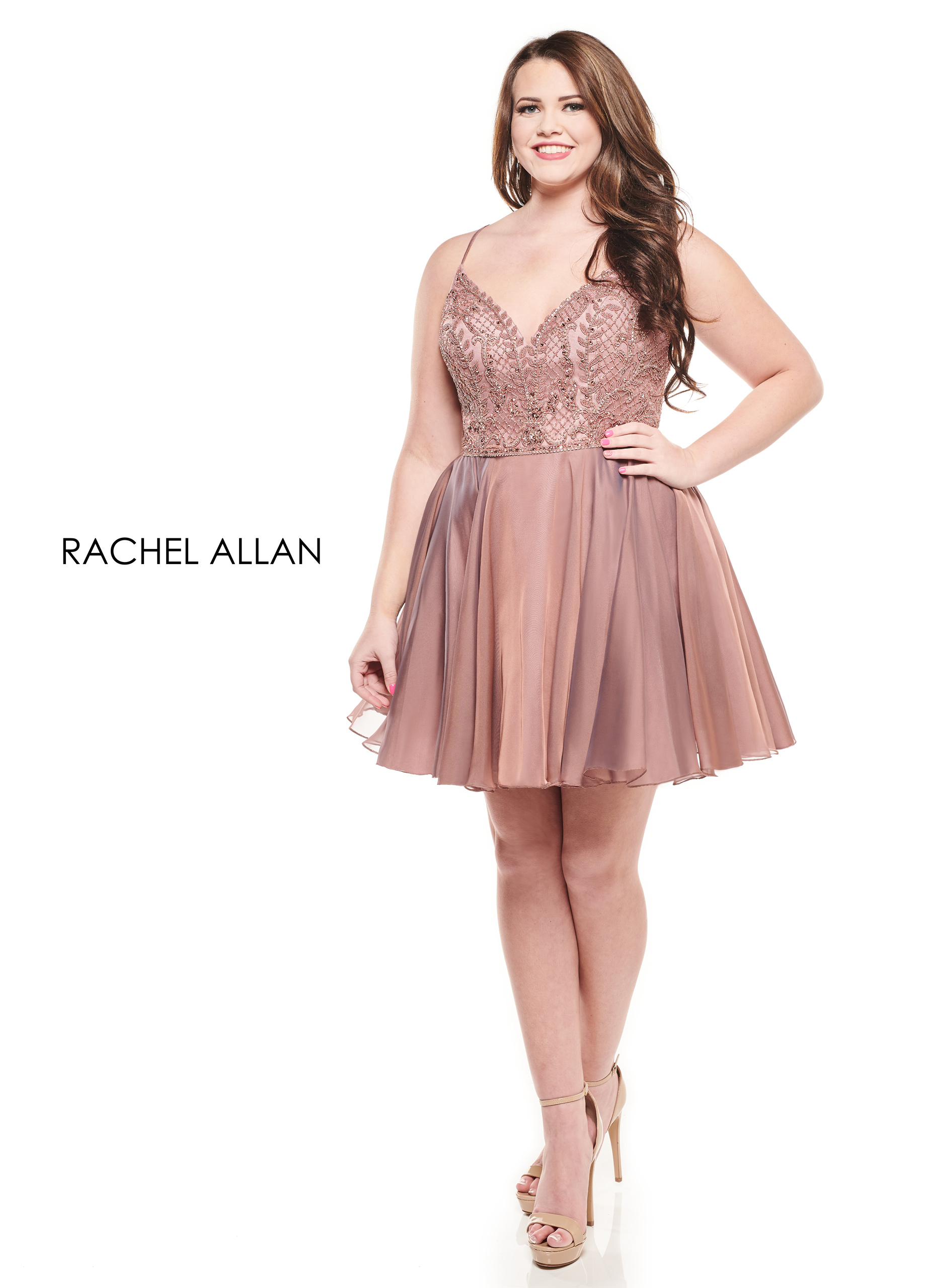 Sweetheart Full Skirt Mini Homecoming Curves in Rose Gold Color