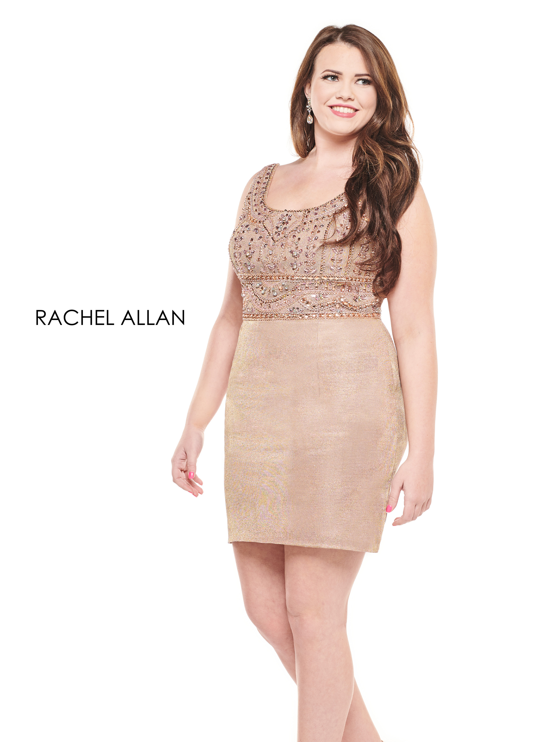 Scoop Neck Fitted Mini Homecoming Curves in Gold Color