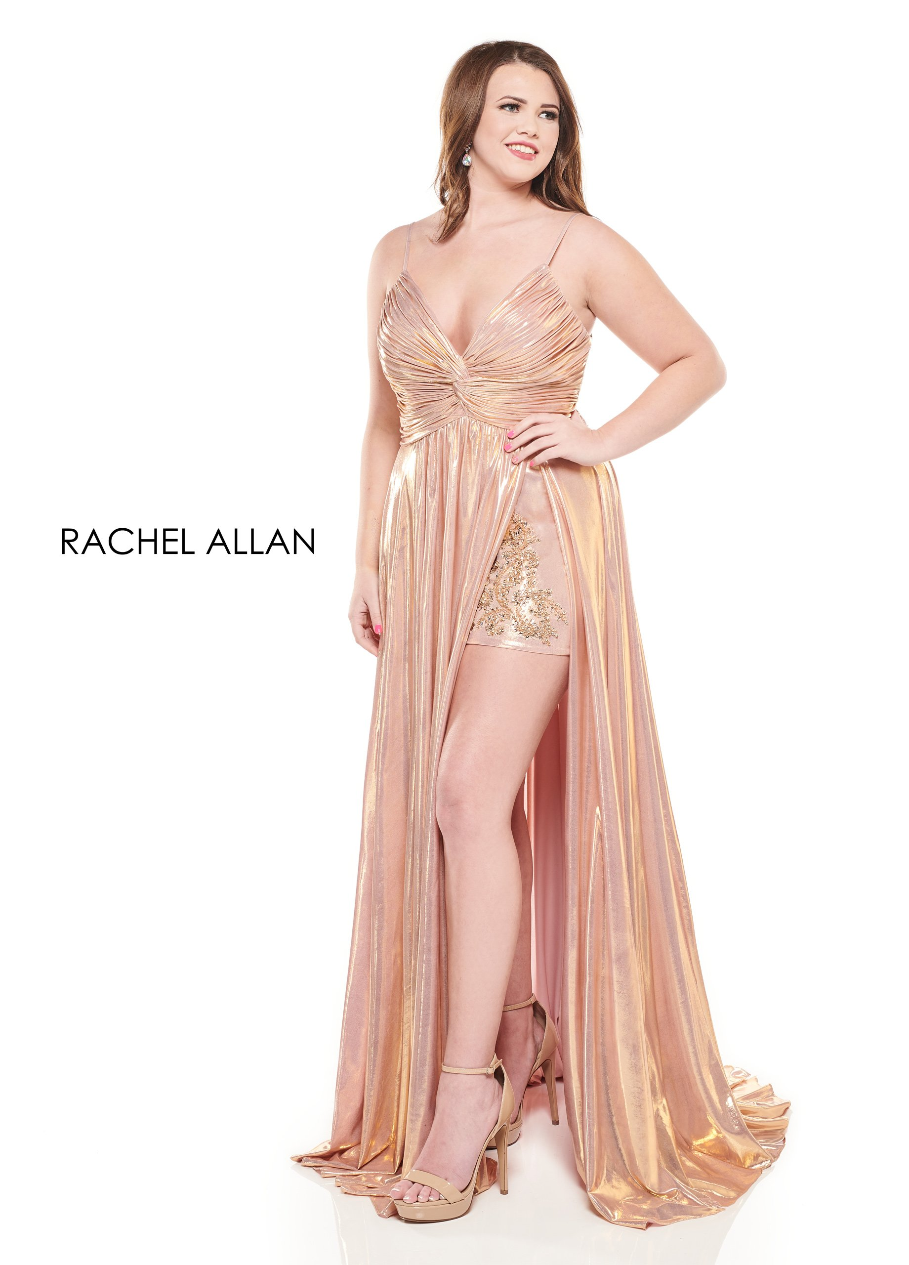 V-Neck Shorts With Overlay Homecoming Curves in Rose Gold Color