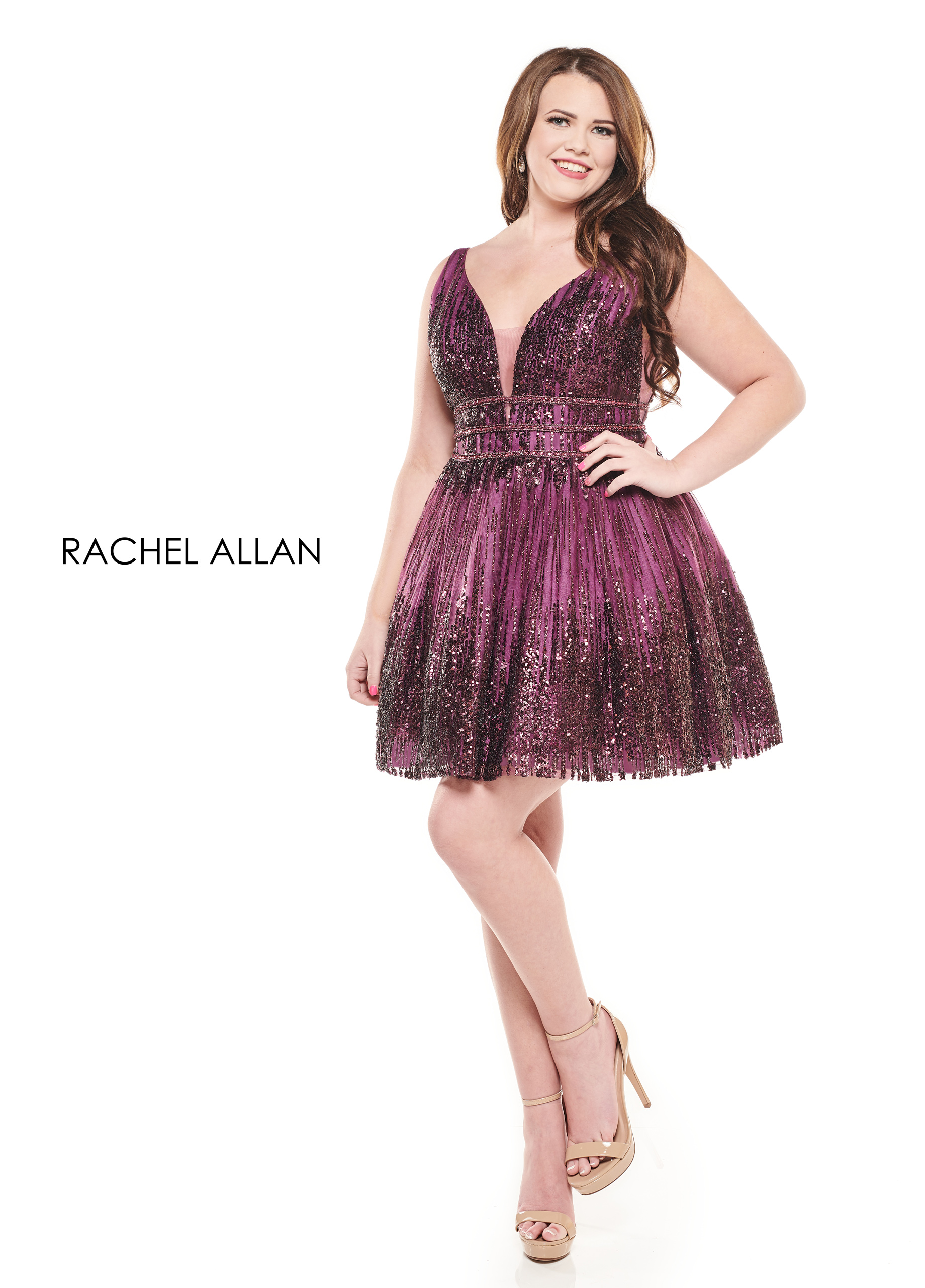 V-Neck Full Skirt Mini Homecoming Curves in Purple Color