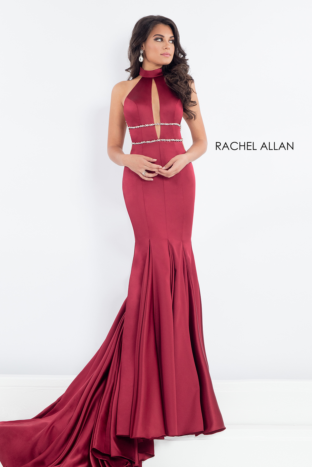 High Neckline Fitted Long Pageant Dresses in Red Color