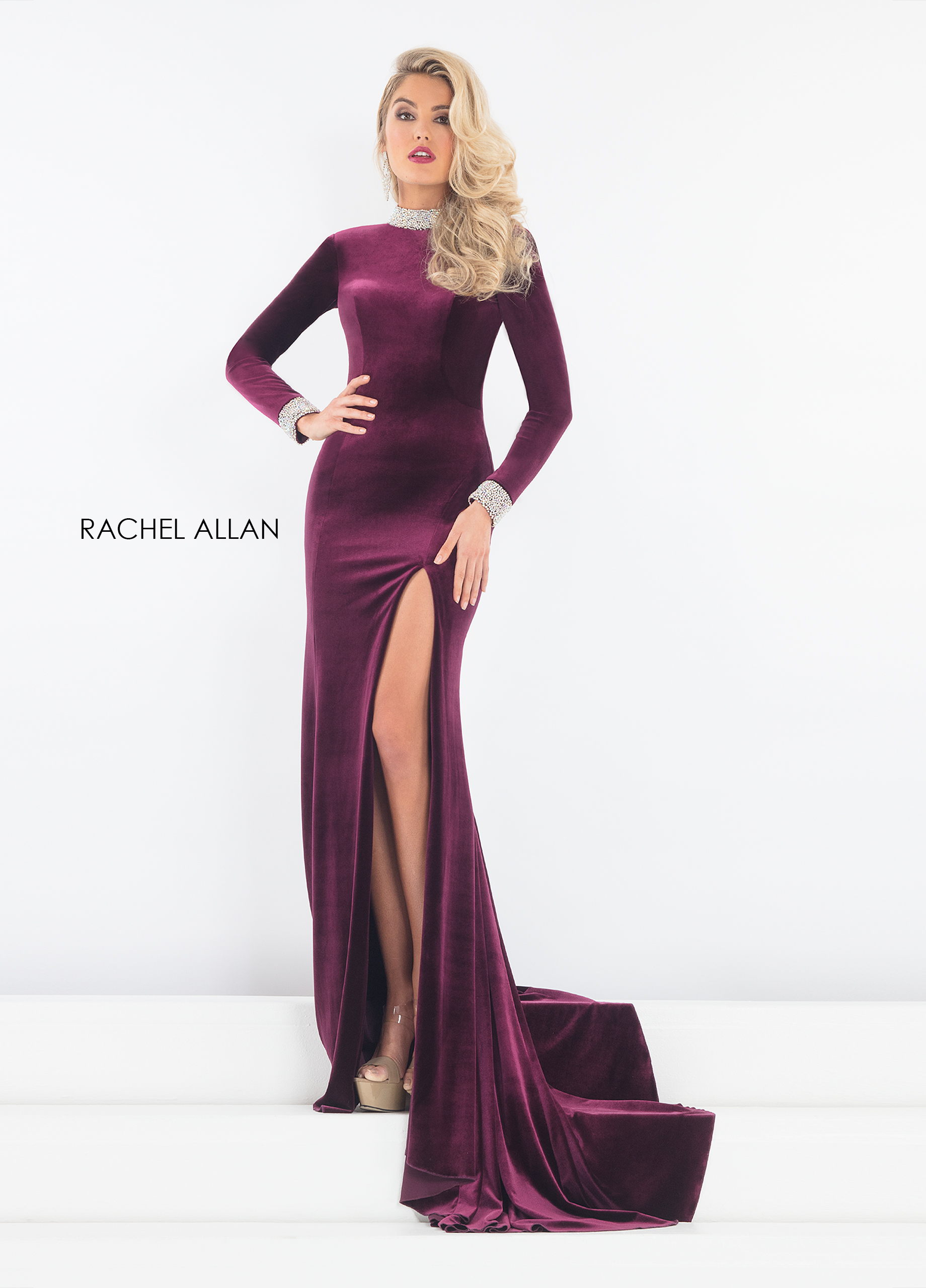 Choker Fitted Long Pageant Dresses in Purple Color