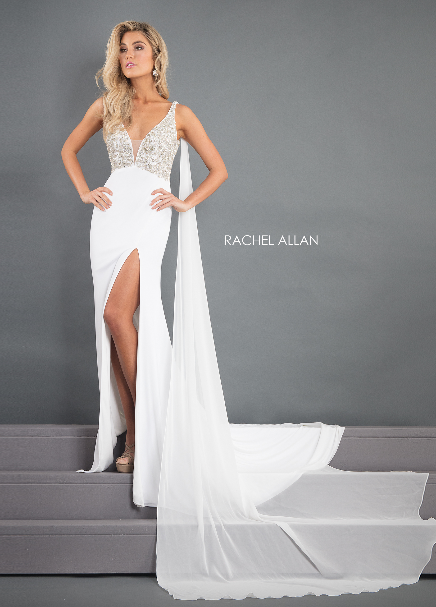 V-Neck Fitted Long Pageant Dresses in White Color