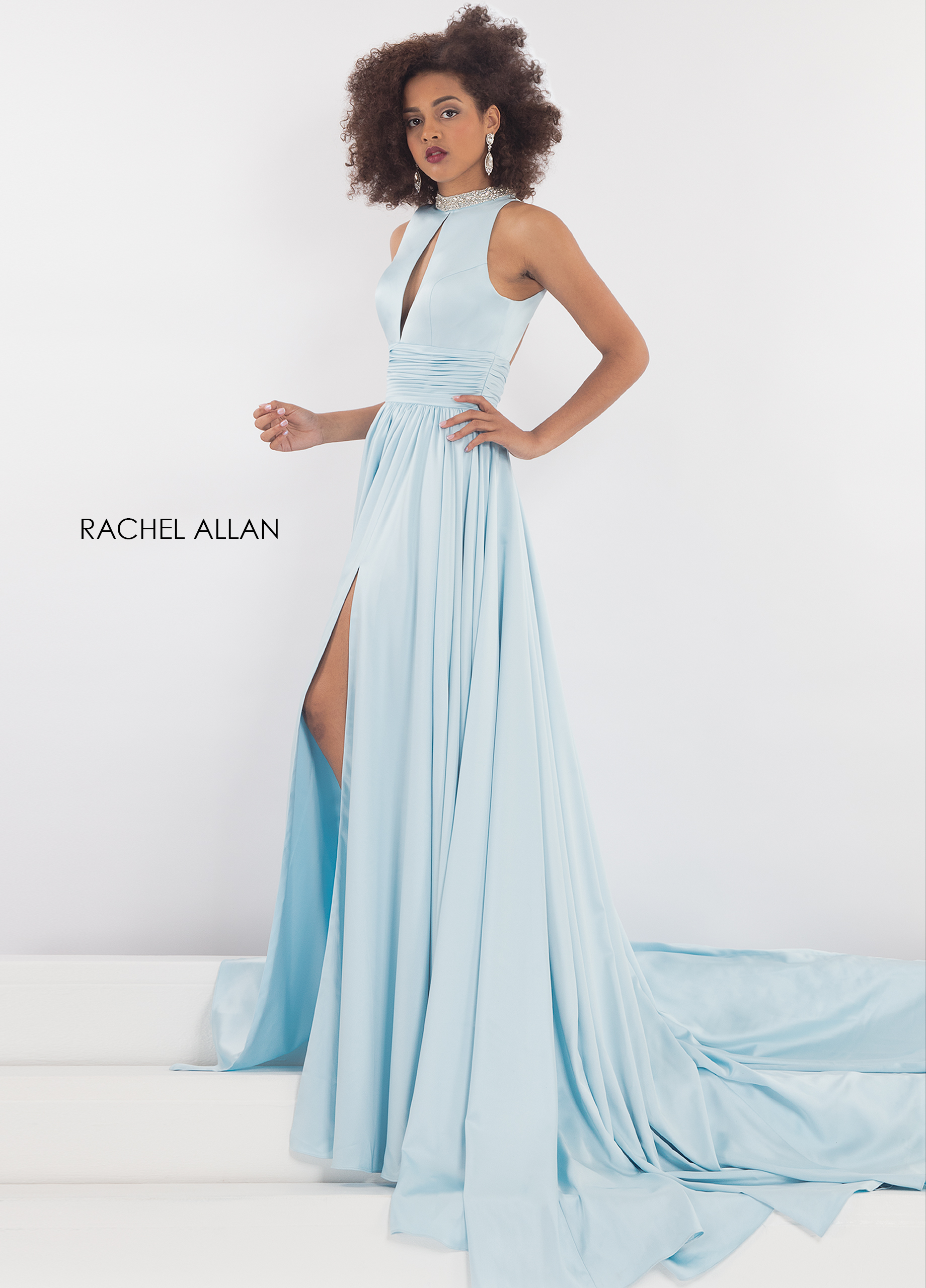 High Neckline Fit & Flare Pageant Dresses in Aqua Color