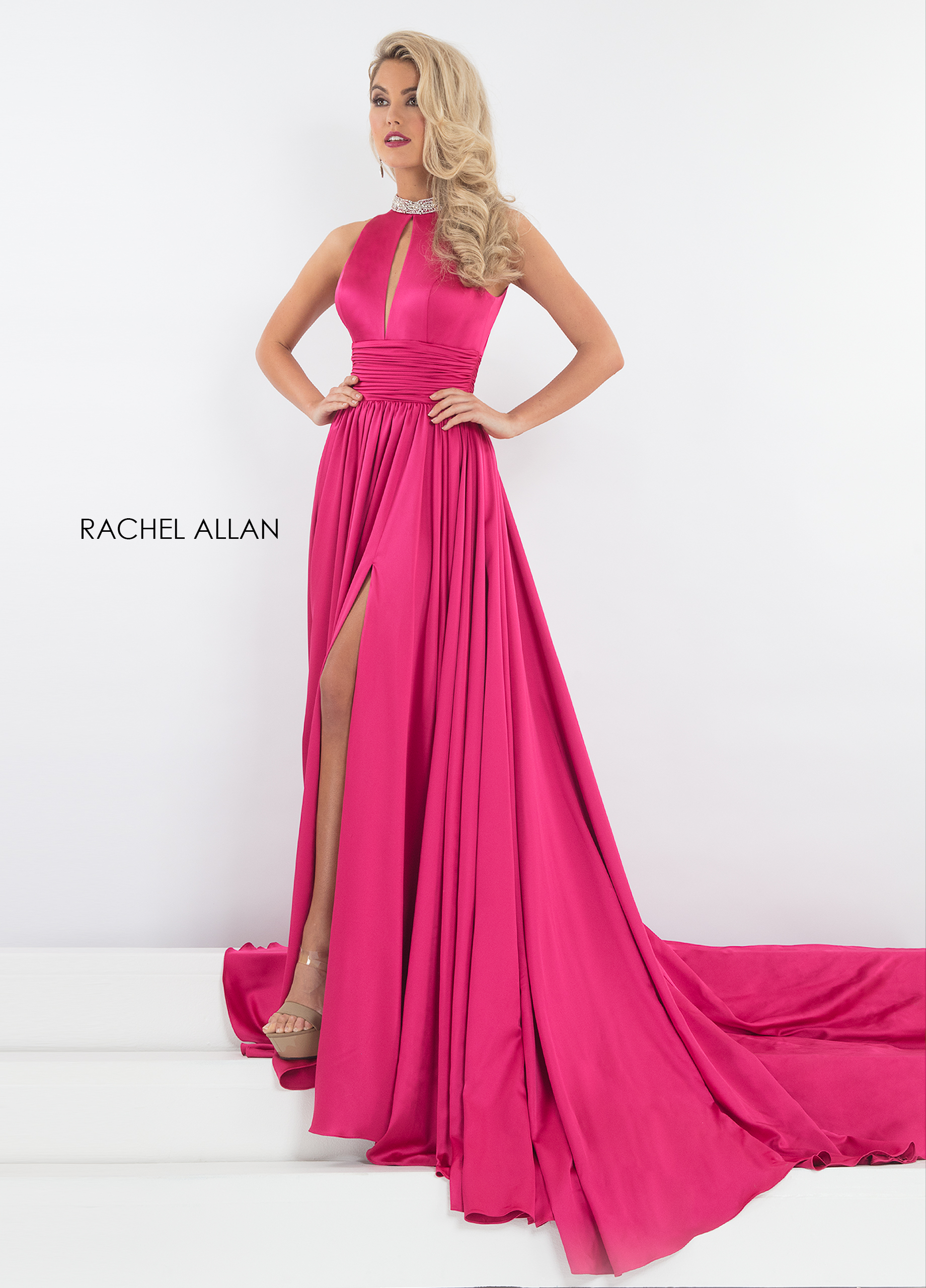 High Neckline Fit & Flare Pageant Dresses in Fuchsia Color