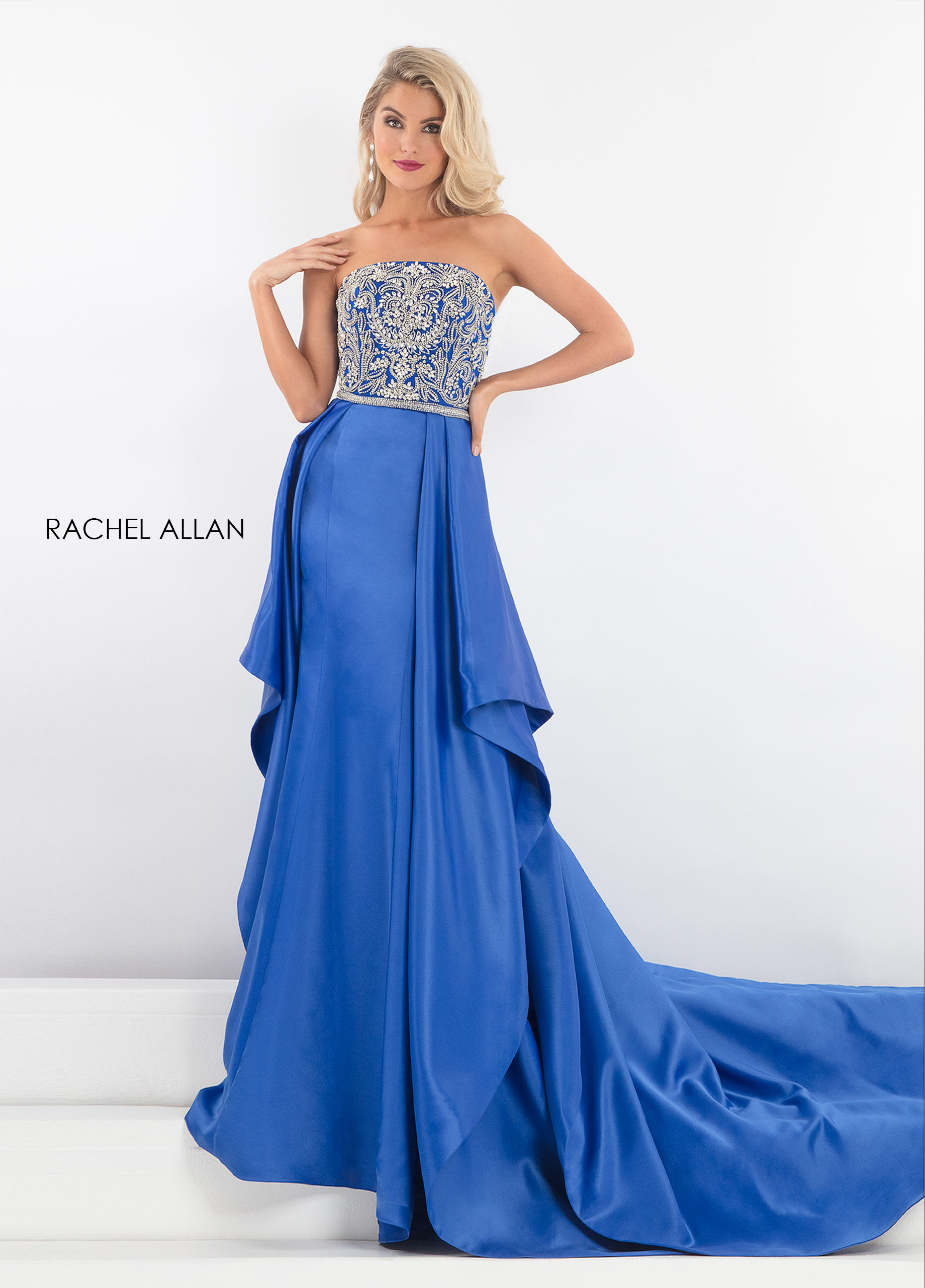Square Skirt With Overlay Pageant Dresses in Royal Color