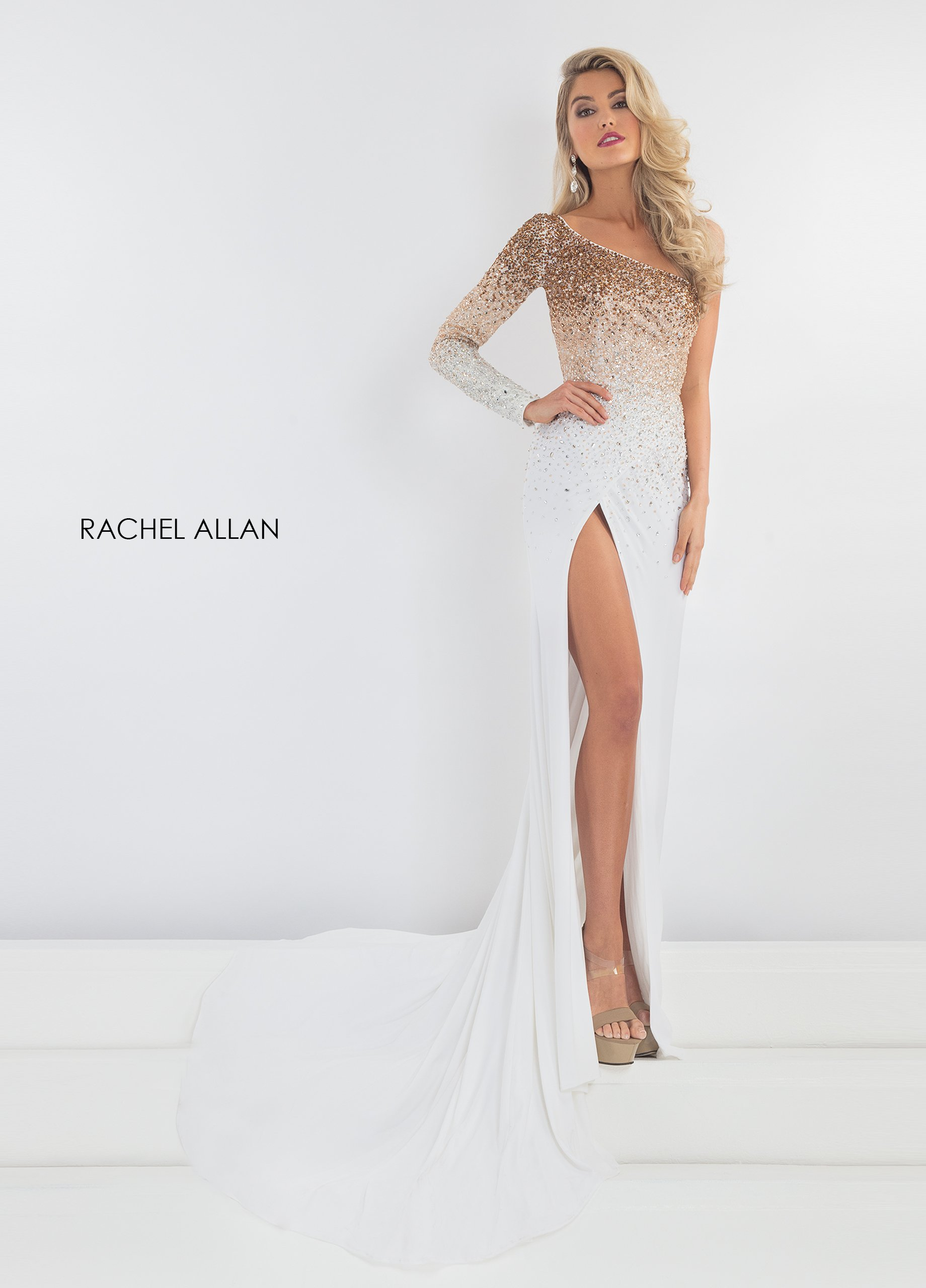 One Shoulder Fitted Long Pageant Dresses in White Color