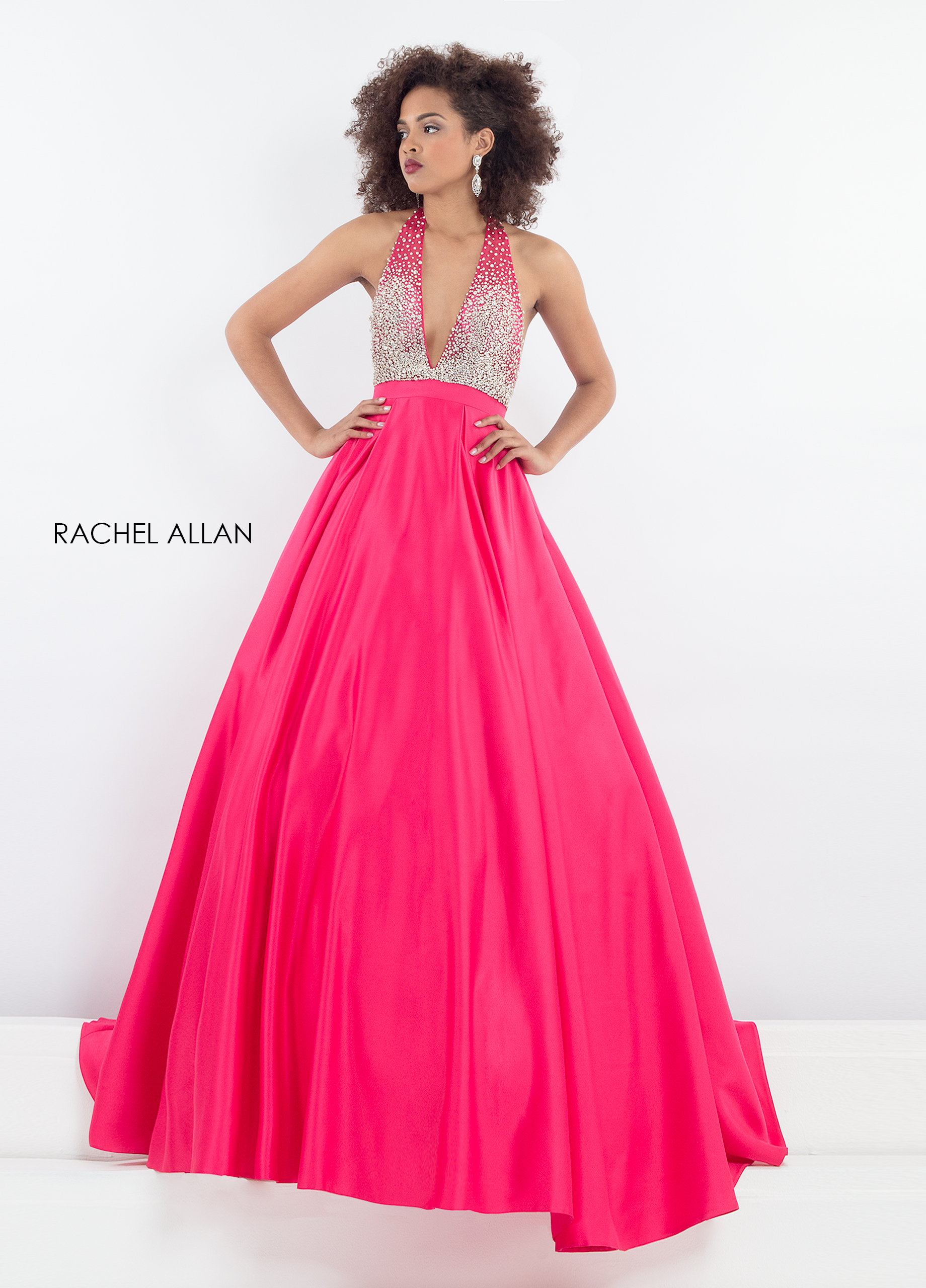 Halter A-Line Pageant Dresses in Fuchsia Color