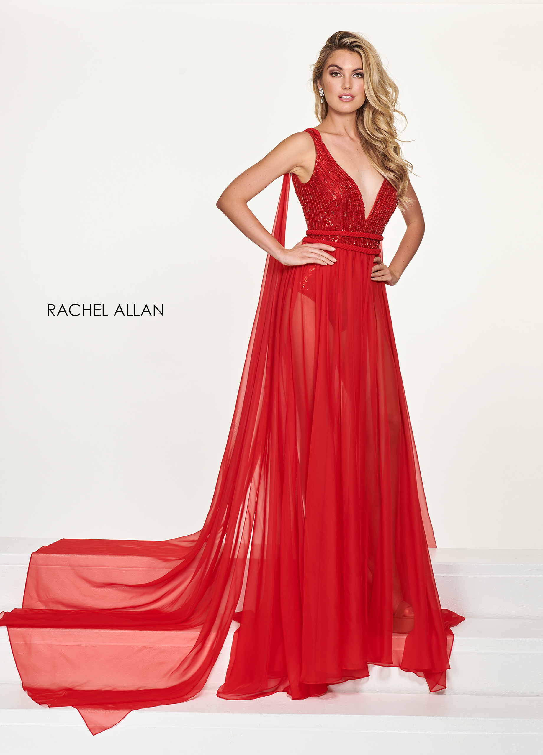 V-Neck Skirt With Overlay Pageant Dresses in Red Color