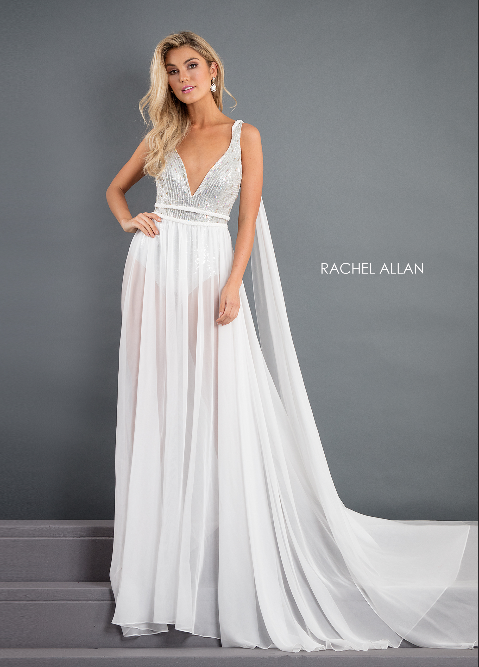 V-Neck Skirt With Overlay Pageant Dresses in White Color