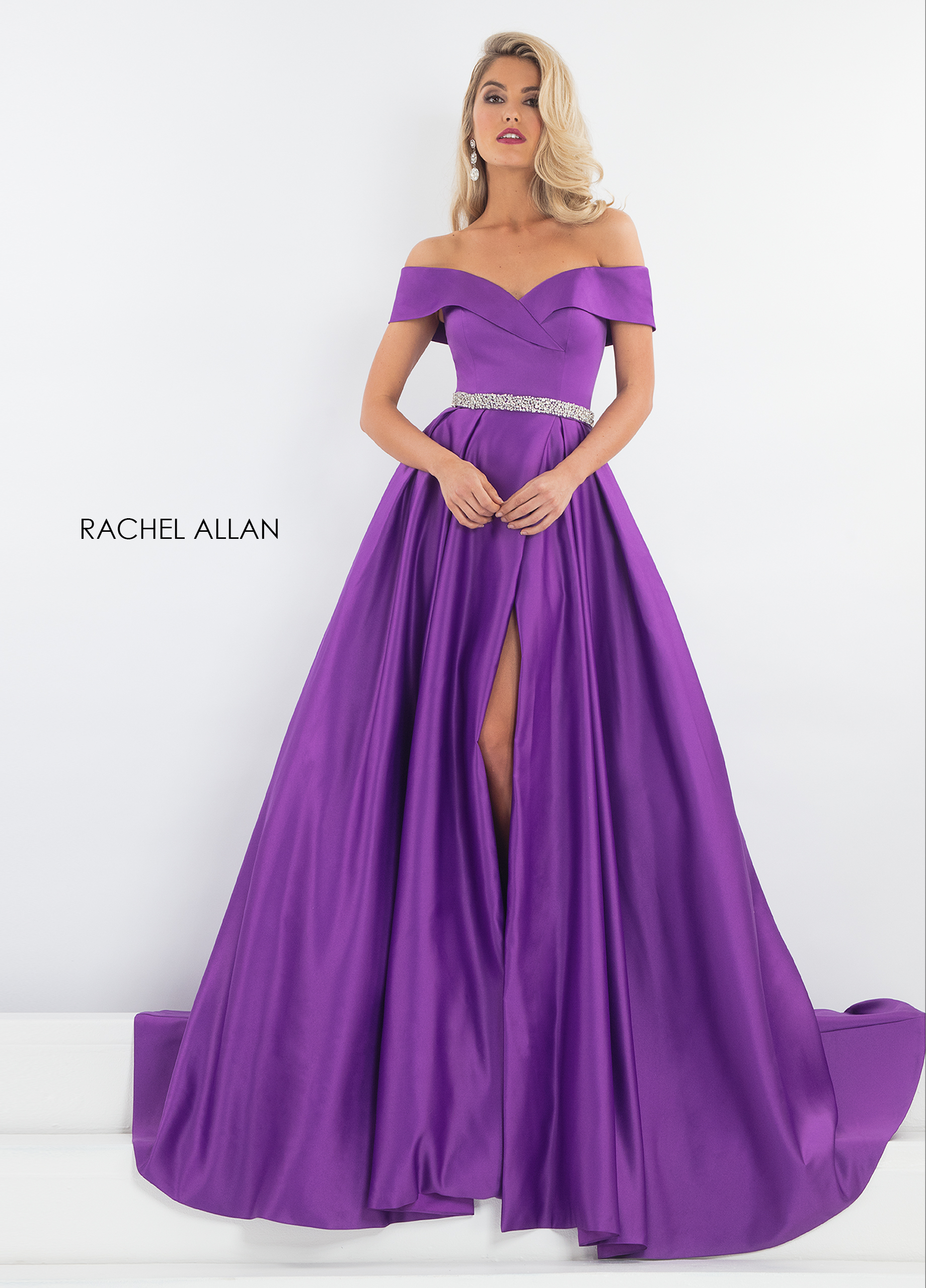 Off The Shoulder Fit & Flare Pageant Dresses in Purple Color