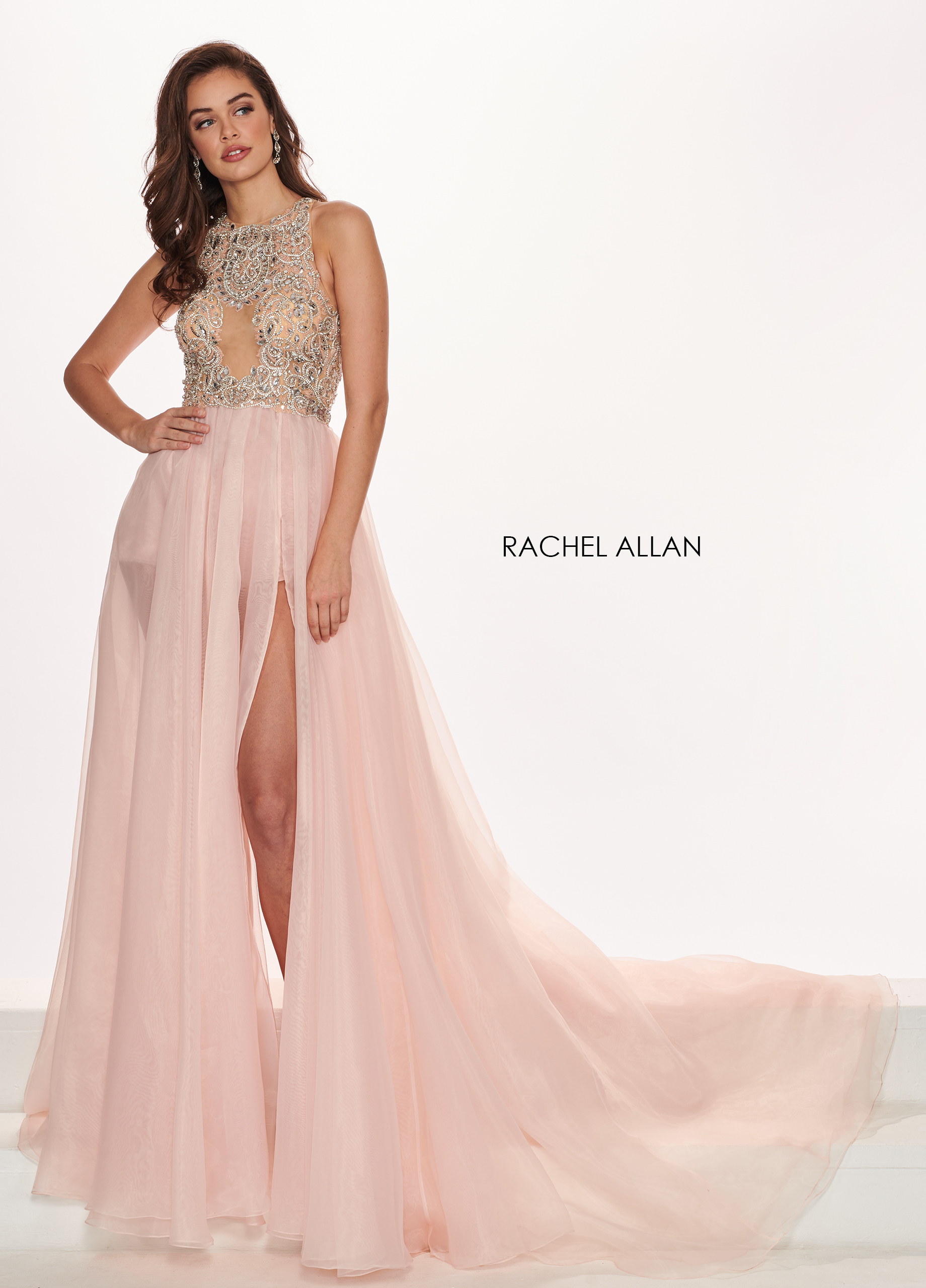 Sheer Shorts With Overlay Pageant Dresses in Pink Color
