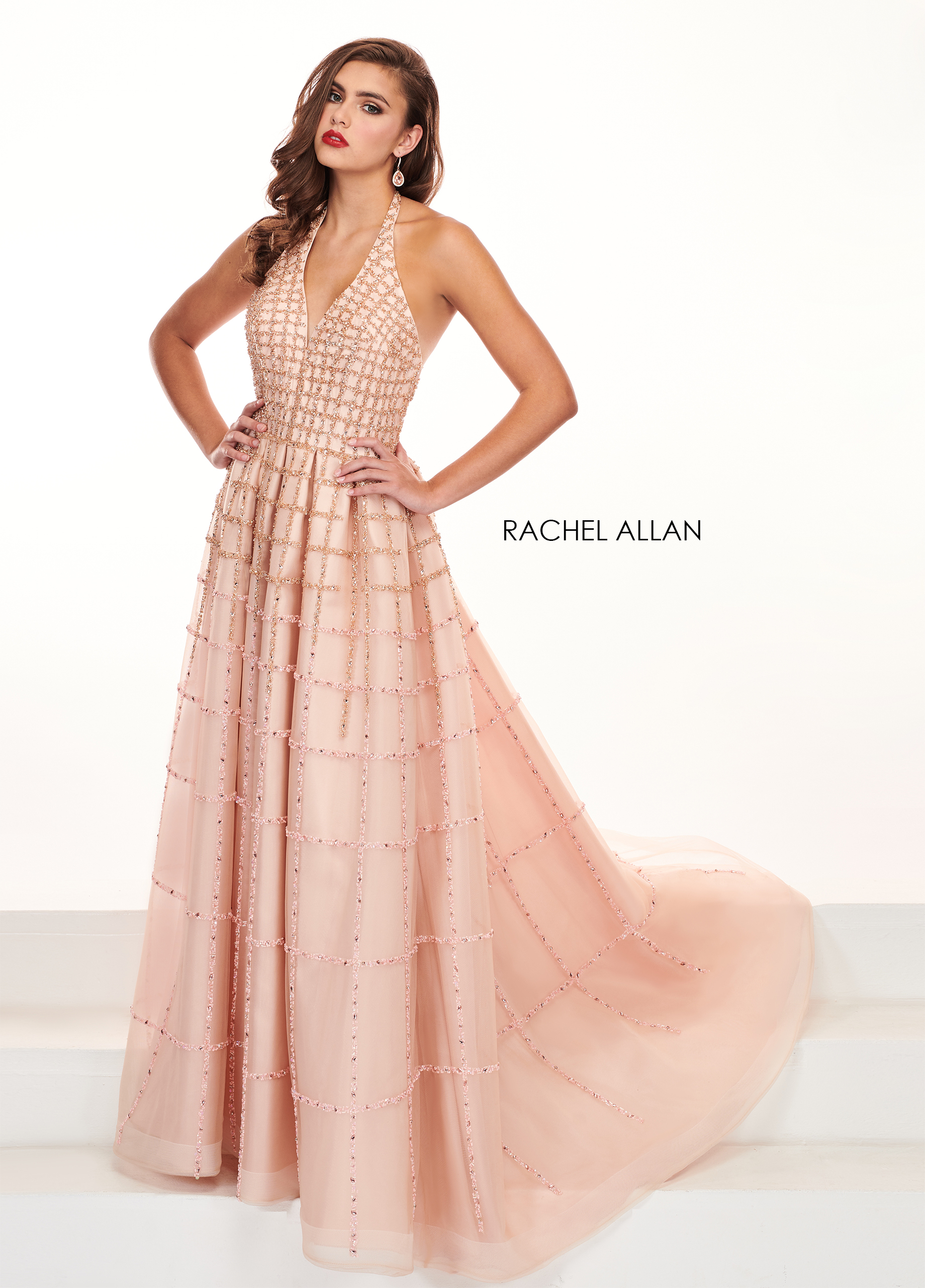 Halter A-Line Pageant Dresses in Pink Color