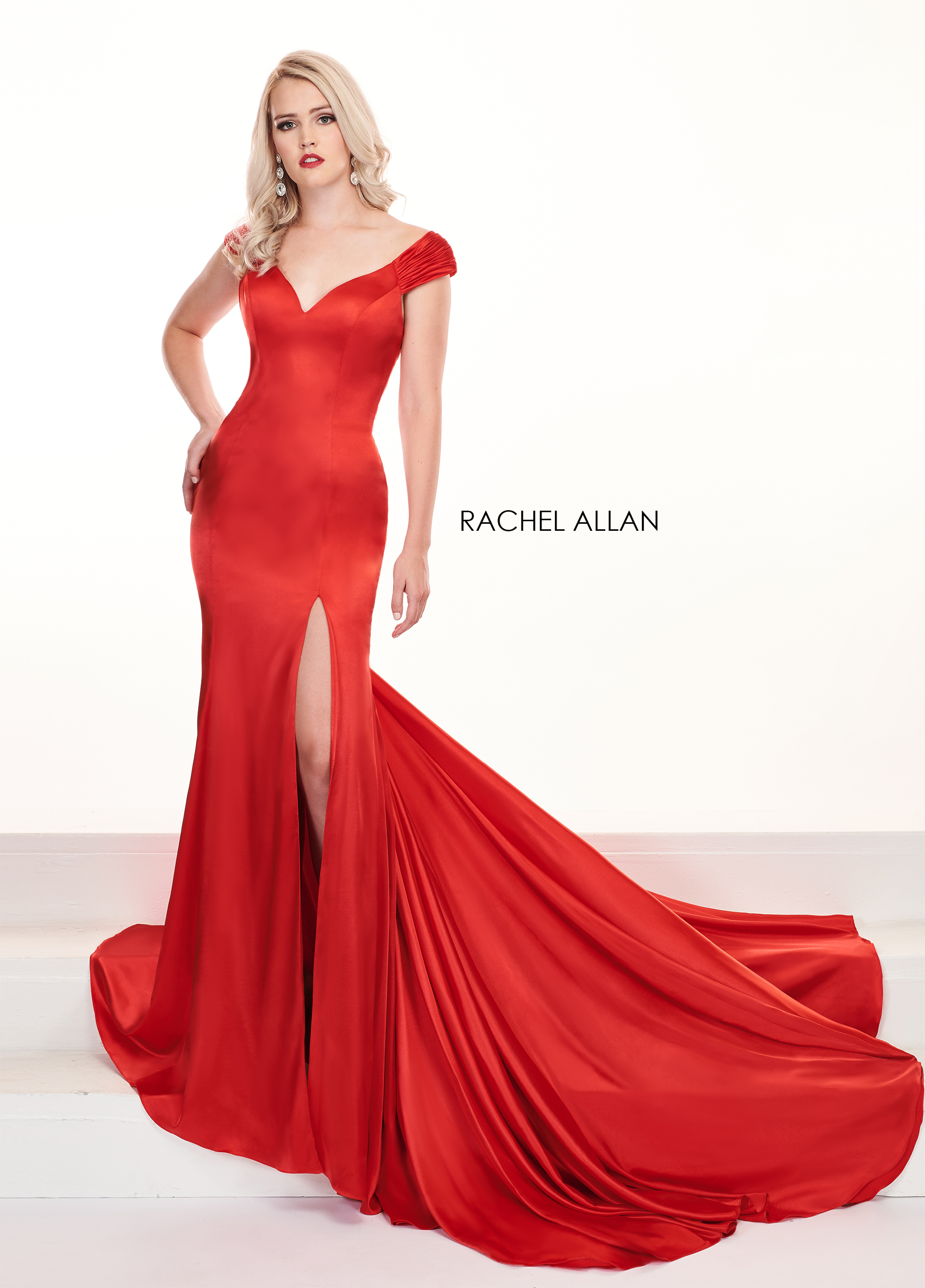 Off The Shoulder Mermaid Pageant Dresses in Red Color