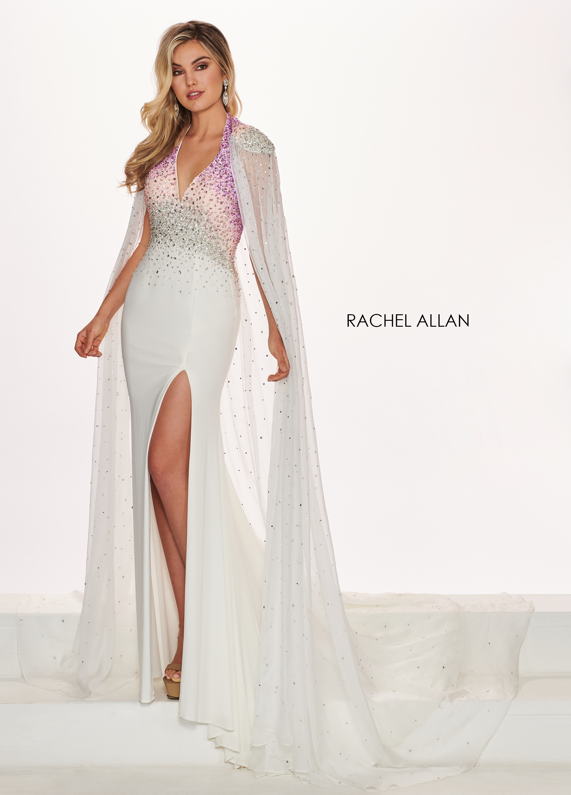 Halter Mermaid Pageant Dresses in White Color