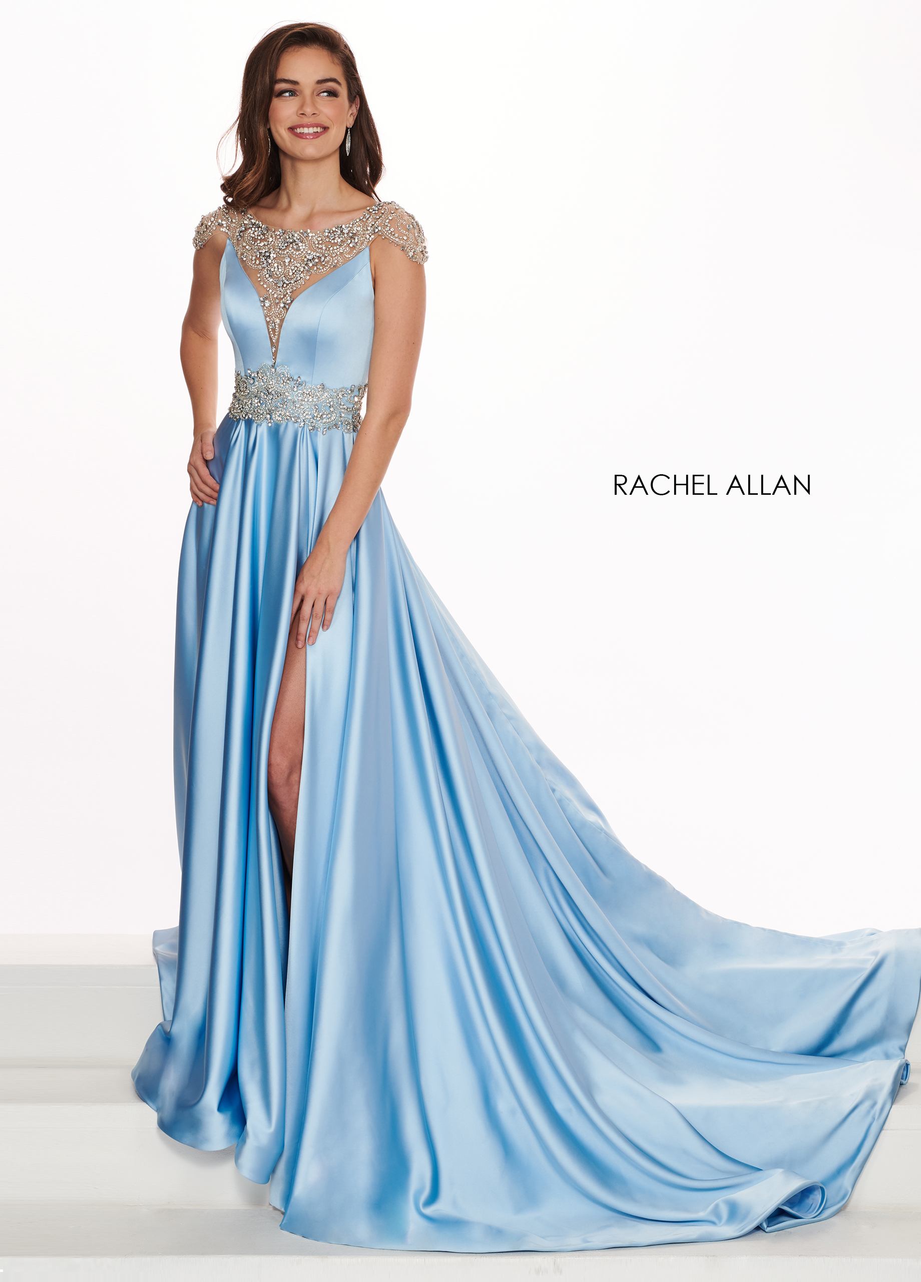 Beaded A-Line Pageant Dresses in Turquoise Color