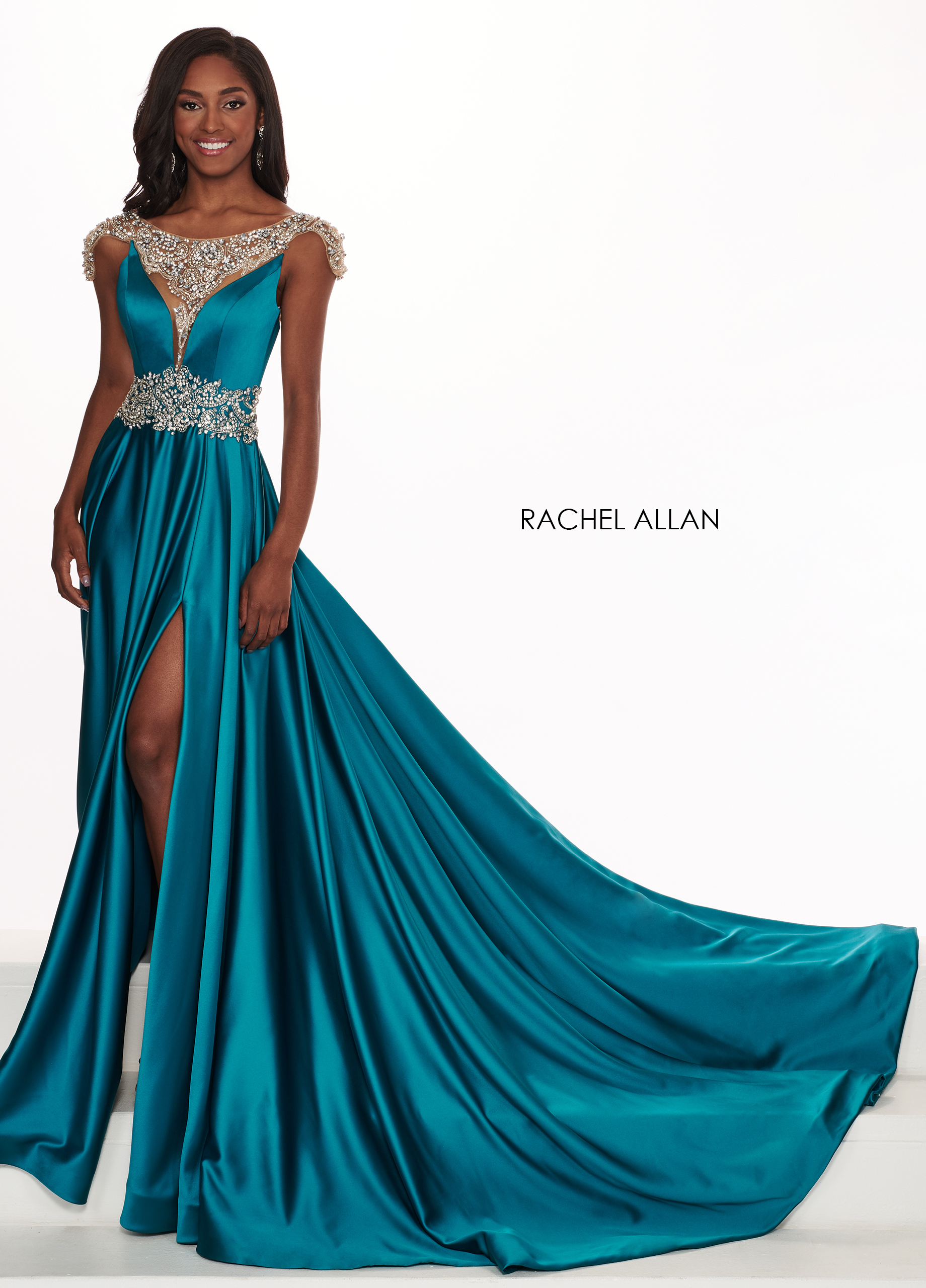 Beaded A-Line Pageant Dresses in Emerald Color